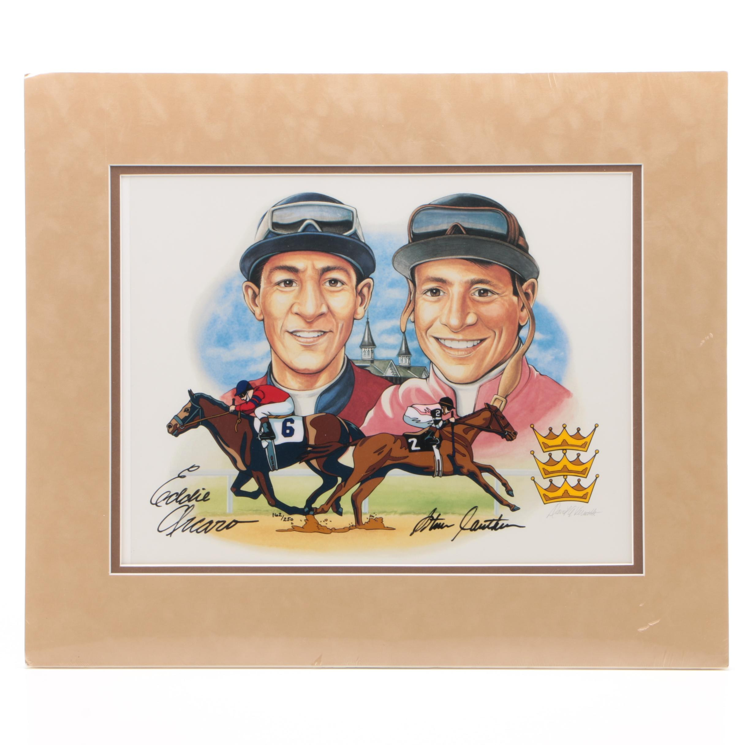 Dual Autographed Triple Crown Winners Print of Eddie Arcaro & Steve Cauthen PSA