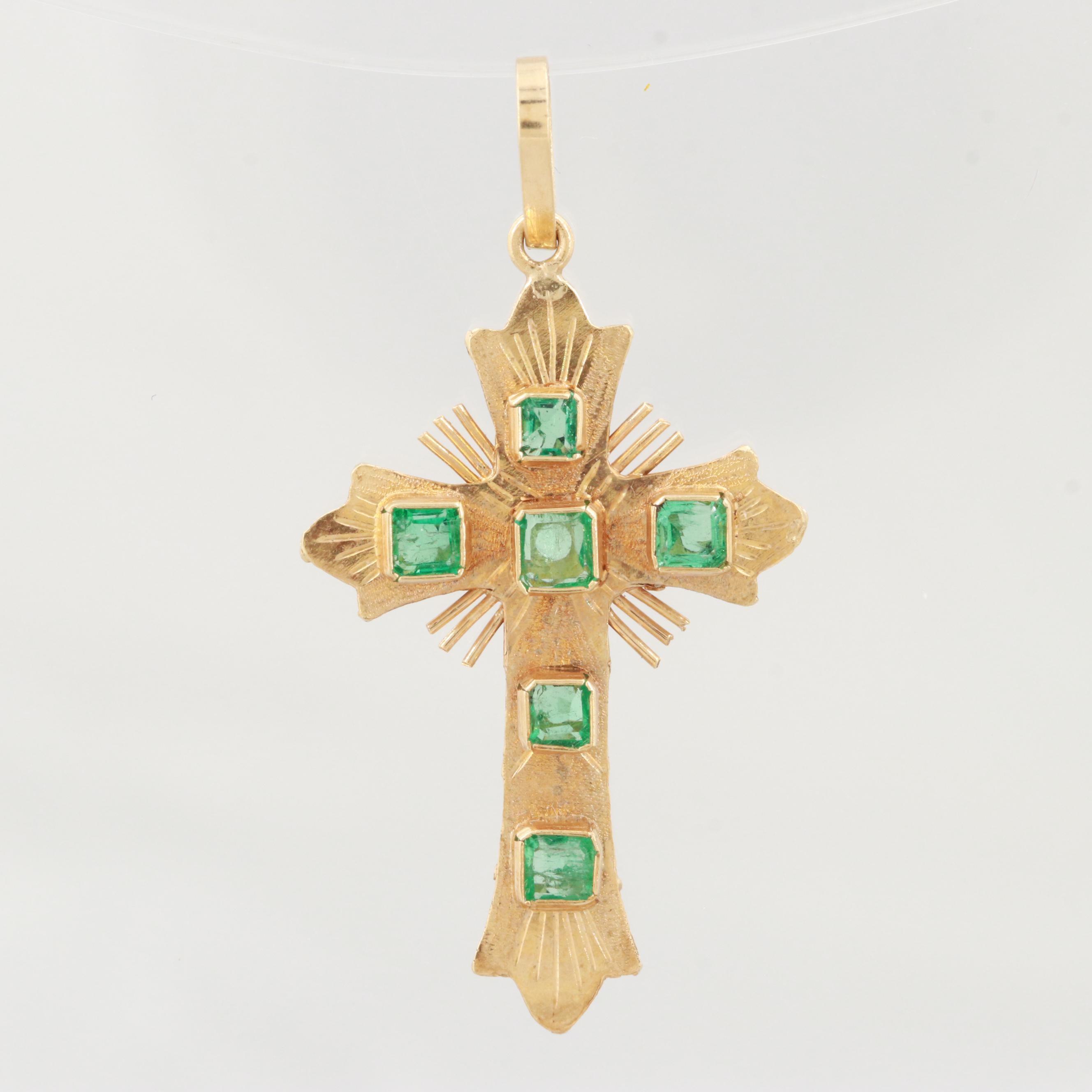 18K Yellow Gold Green Beryl Cross Pendant