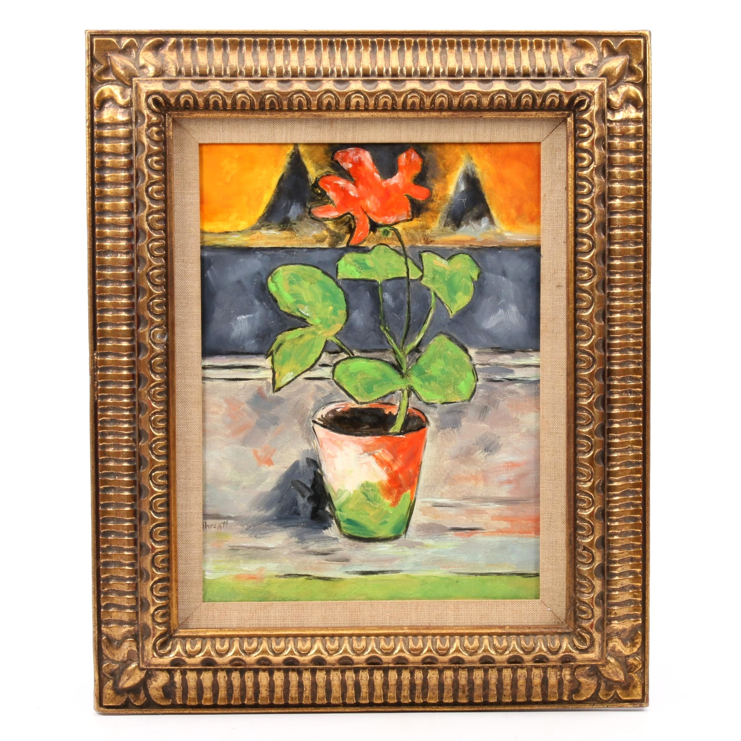 Threatt Abstract Oil Painting of Potted Flowering Plant