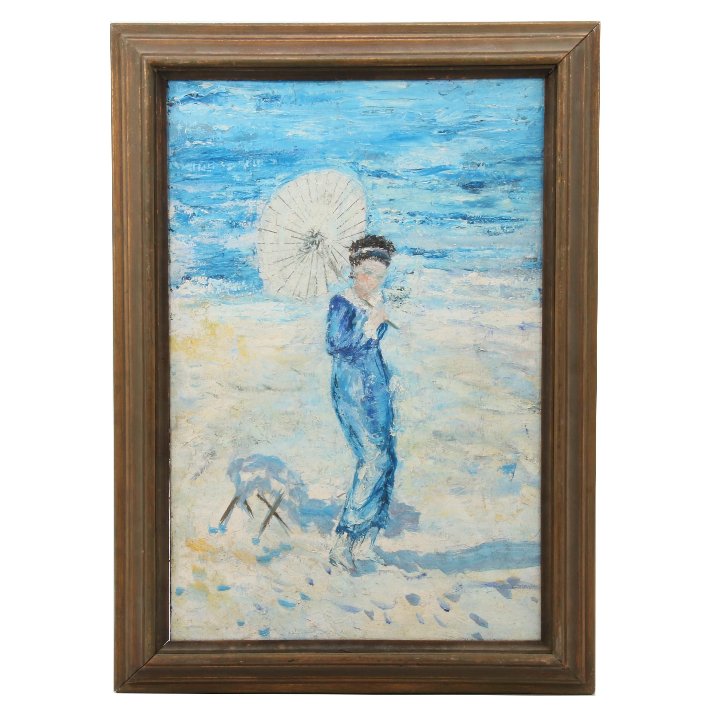 Mid 20th Century Impasto Oil Painting