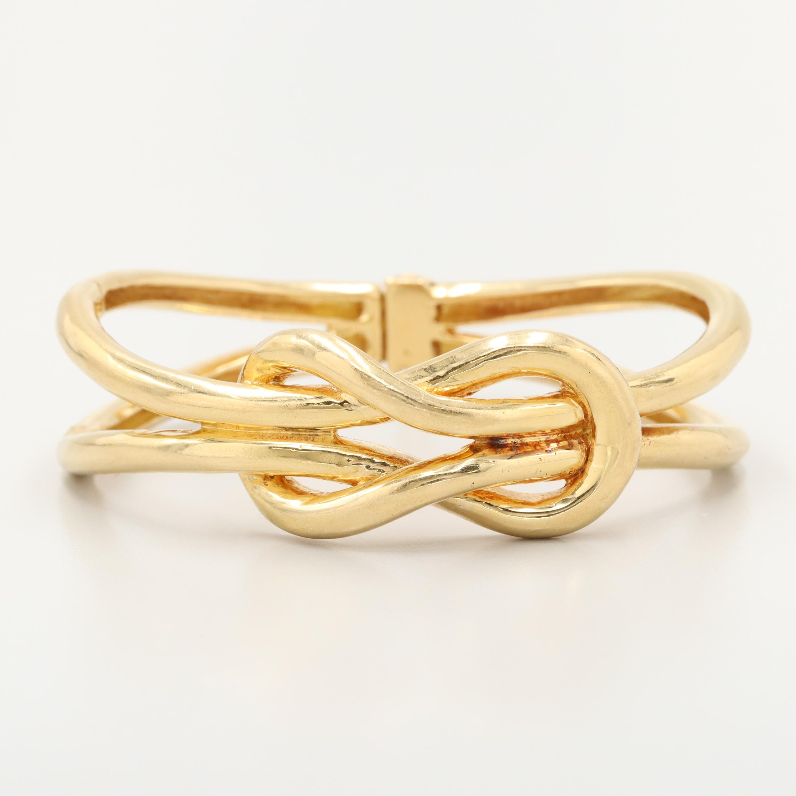 18K Yellow Gold Hinged Bangle Sailor's Knot Bracelet