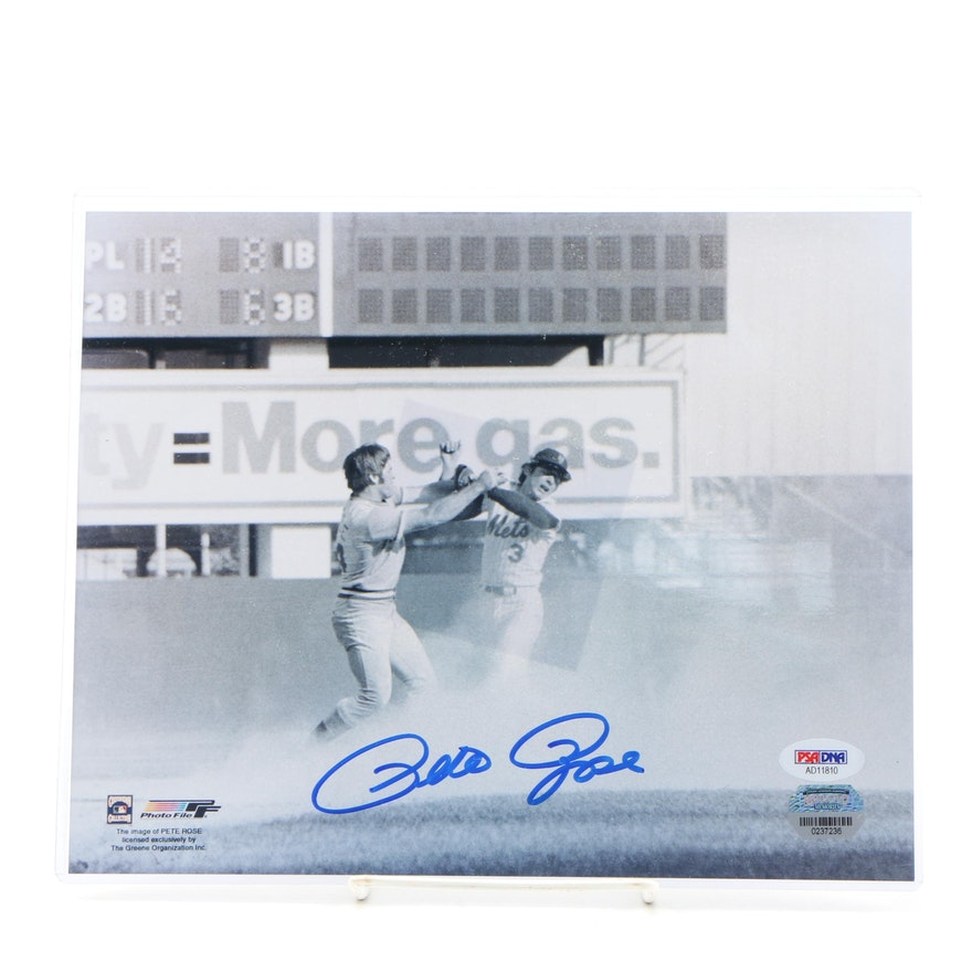 "Pete Rose PSA/DNA Certified Autographed ""The Fight"" Photo Print"