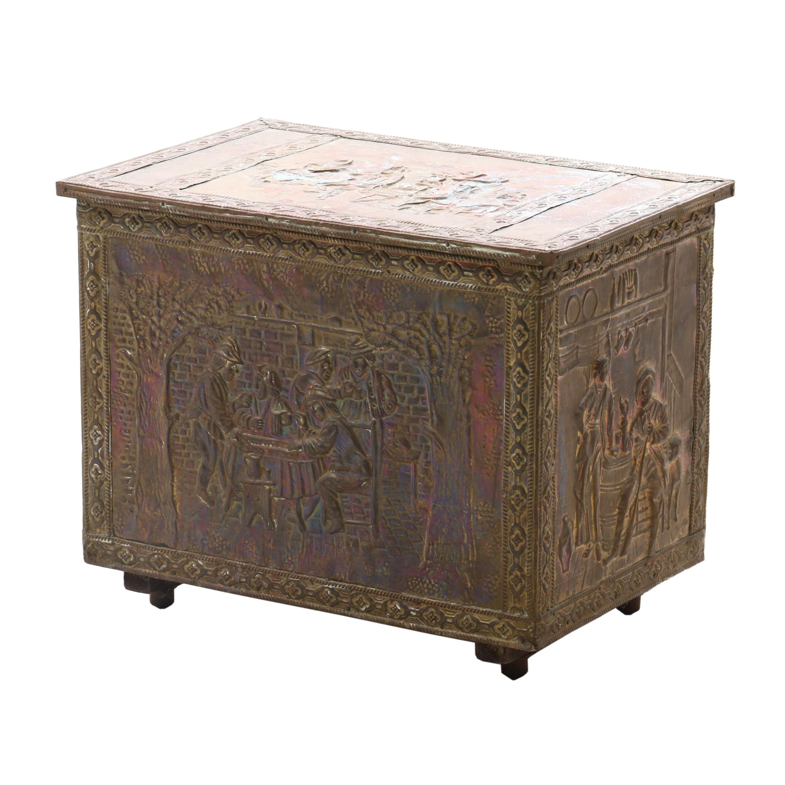 Brass Clad Copper and Metal Repoussé Kindling Box