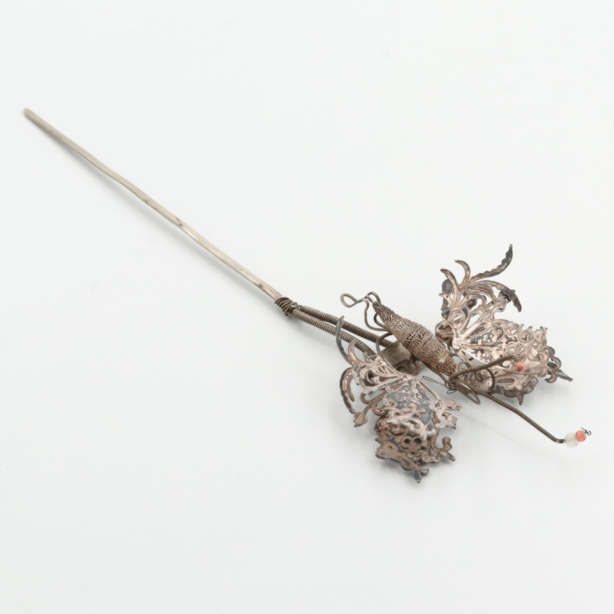 Vintage 800 Silver Hair Pin with Silver Tone Stem with Glass Bead Accents