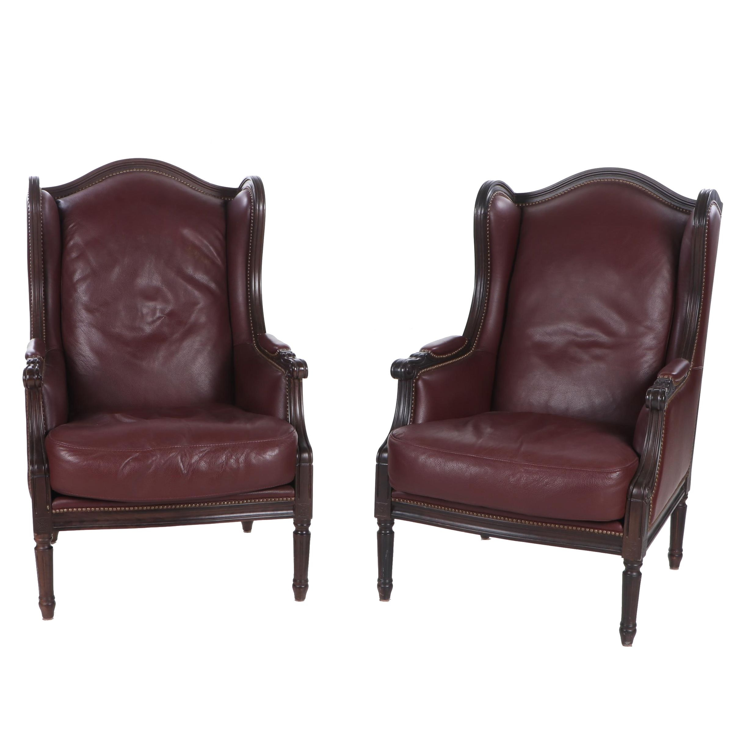Louis XVI Inspired Synthetic Leather Wing Back Chairs, Contemporary