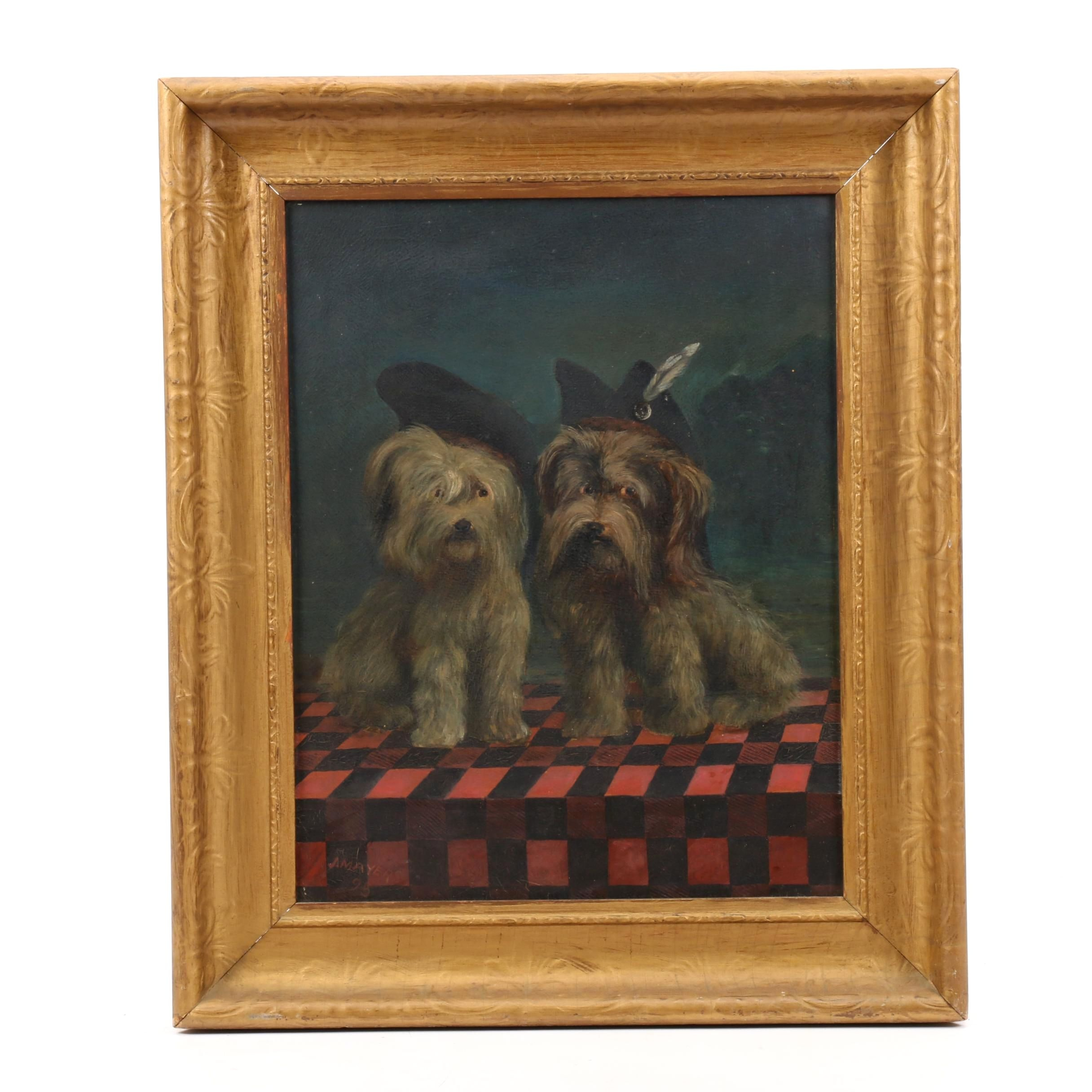 Late 19th Century Oil Puppy Portrait Painting
