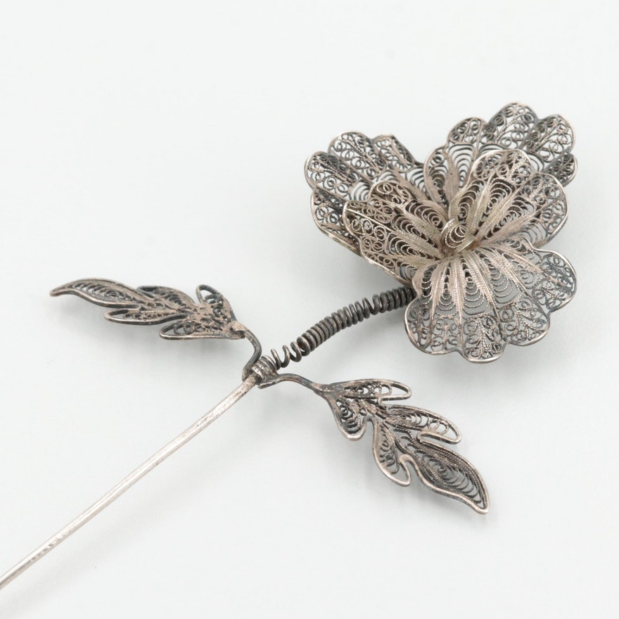 Antique Sterling Silver Flower Motif Hair Pin