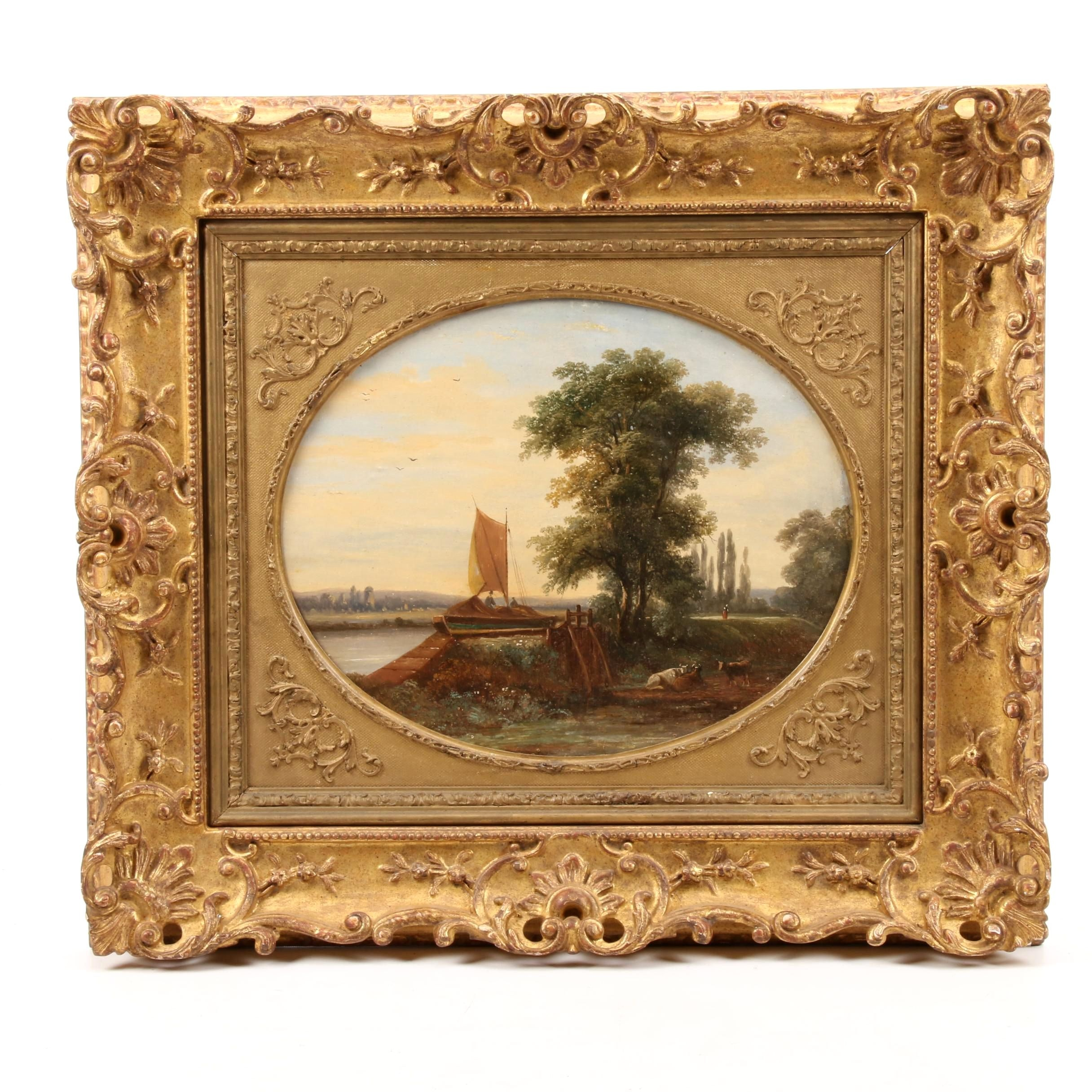 Late 19th Century Oil Painting in the Style of John Constable