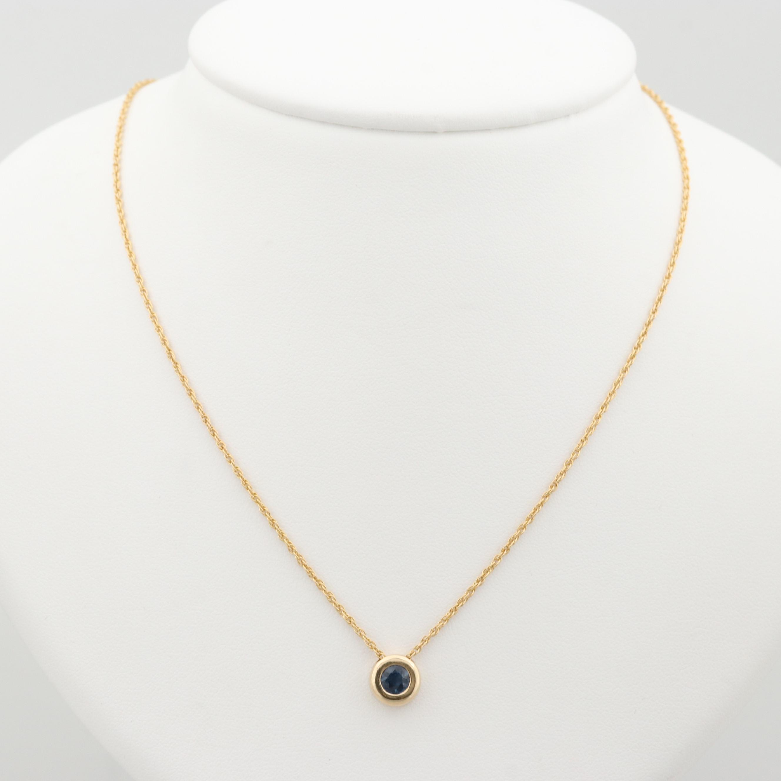 14K Yellow Gold Sapphire Pendant Necklace