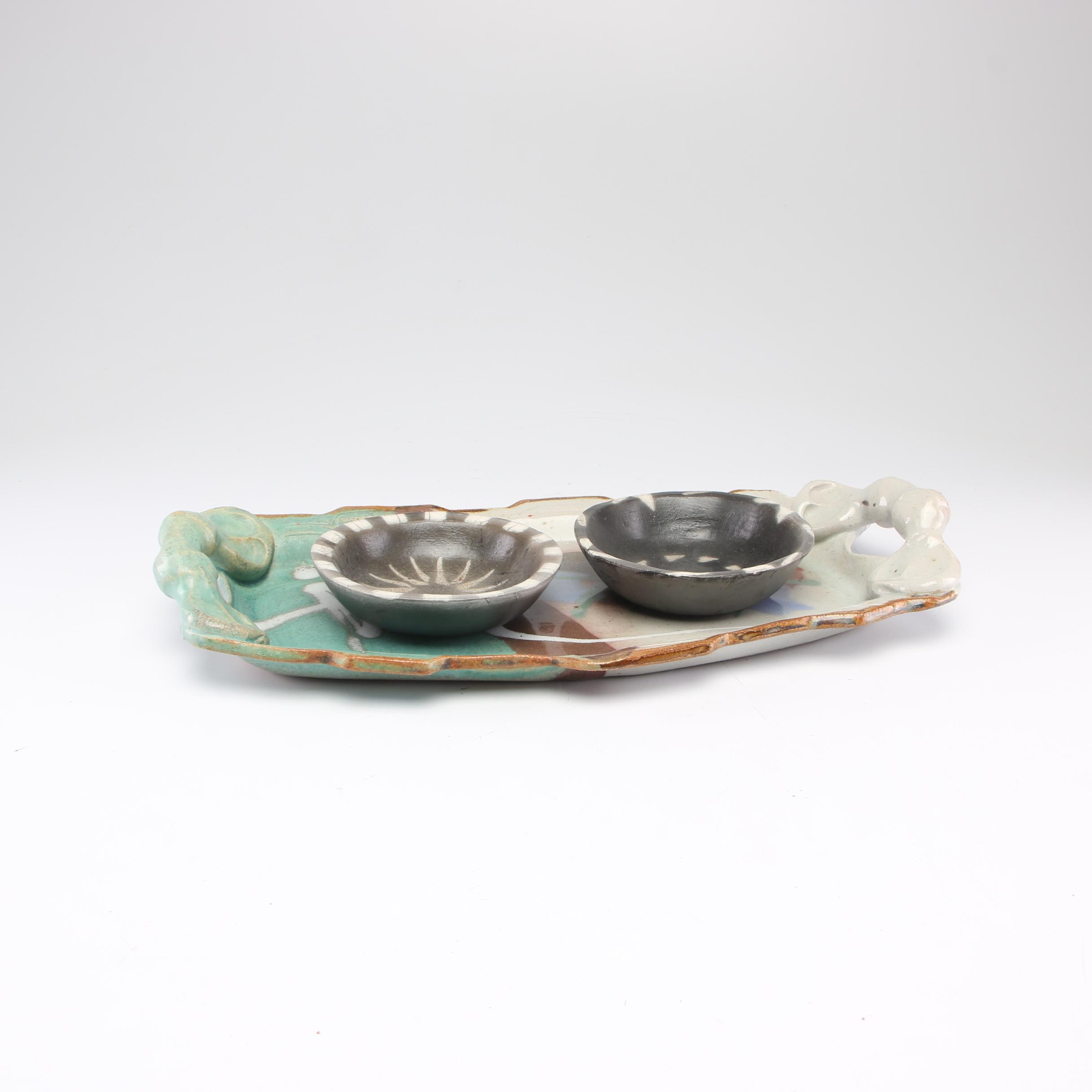 Handbuilt Stoneware Serving Platter with Raku Fired Stoneware Decorative Bowls