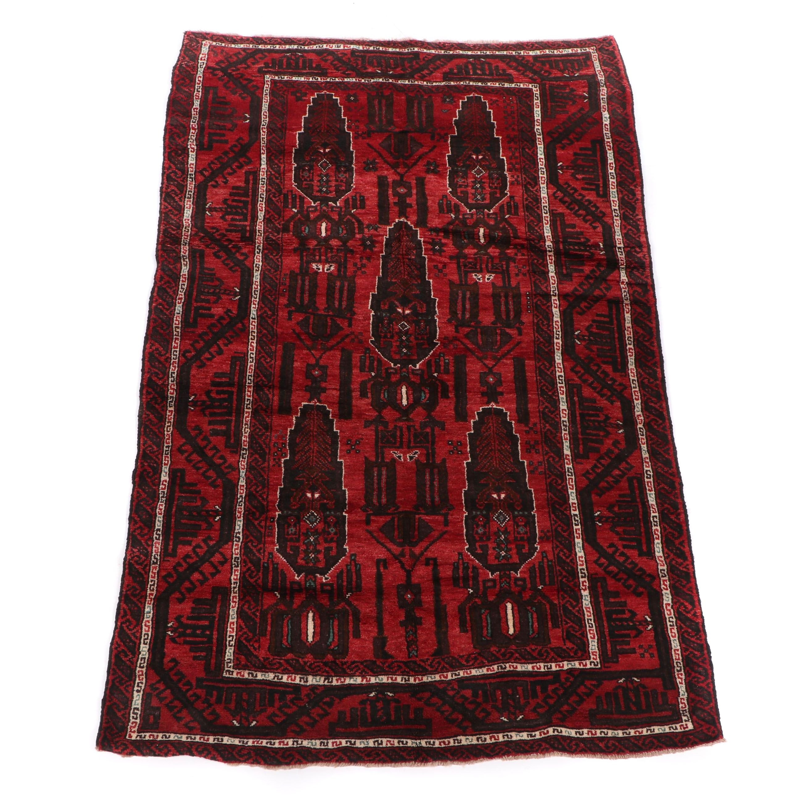 Hand-Knotted Baluch Wool Rug