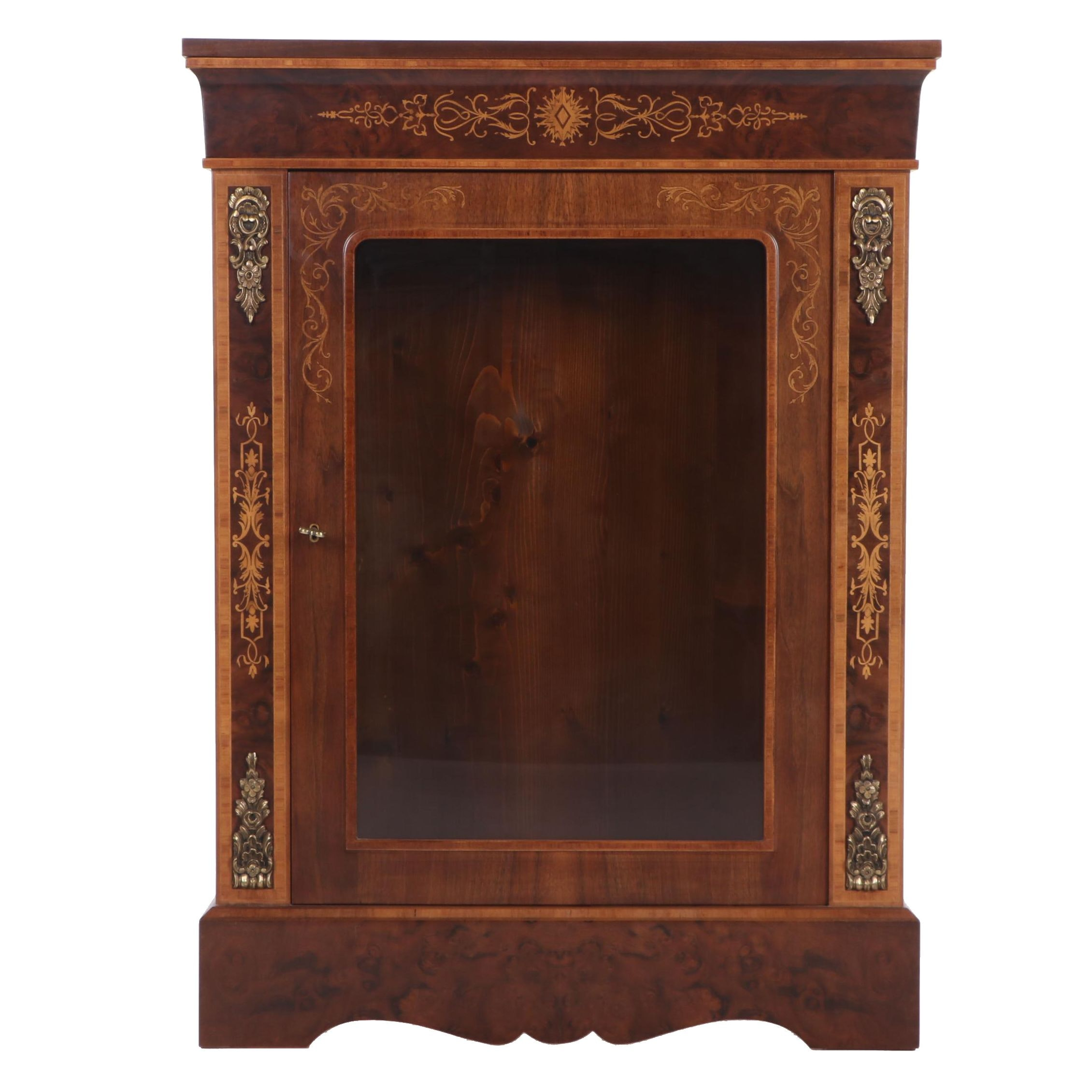 Neoclassical Figured Walnut and Maple Inlay Display Cabinet, Contemporary