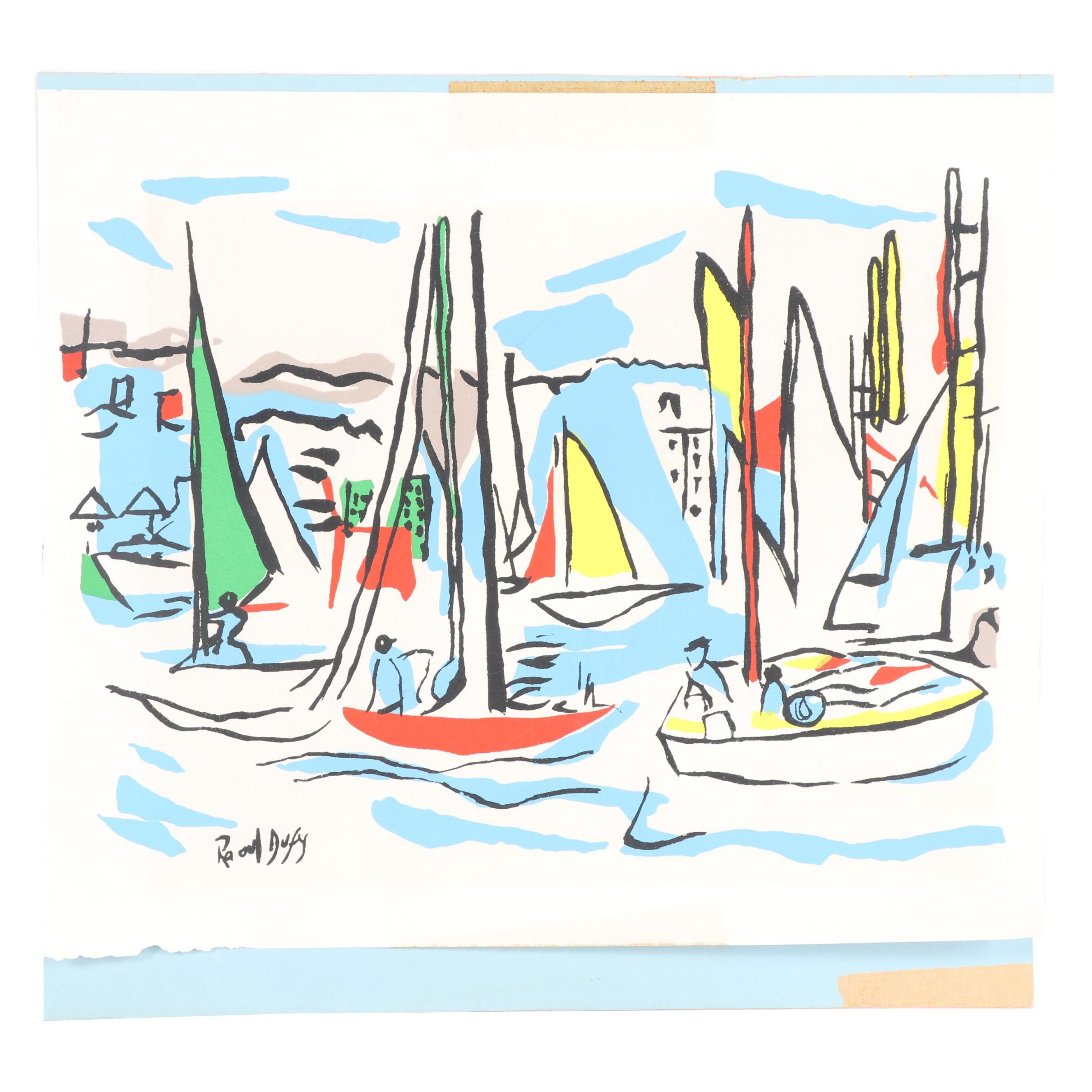 """Serigraph After Raoul Dufy """"Sailboats in Harbor"""""""