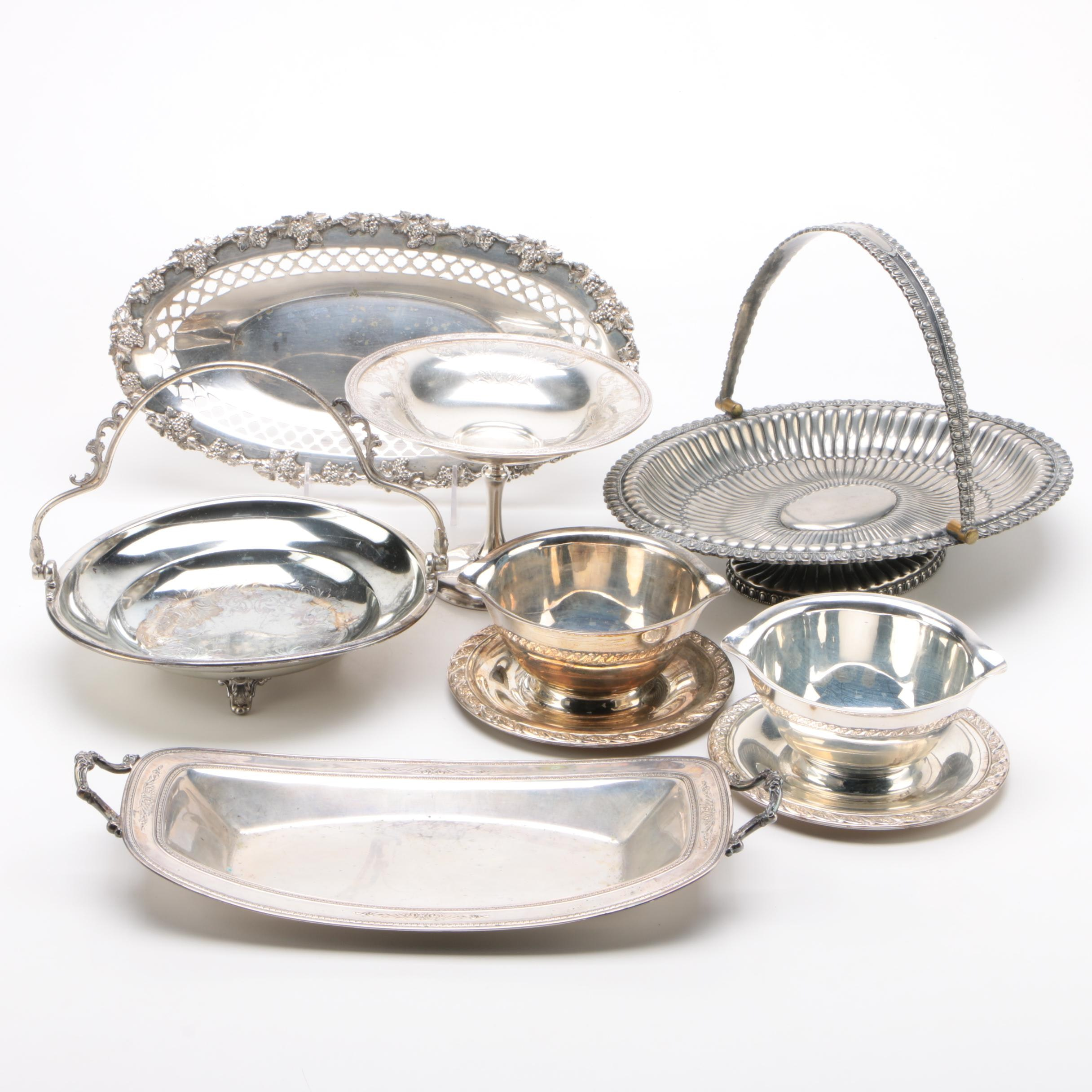 Neoclassical Egg and Dart Rimmed Basket with Silver Plate Serveware