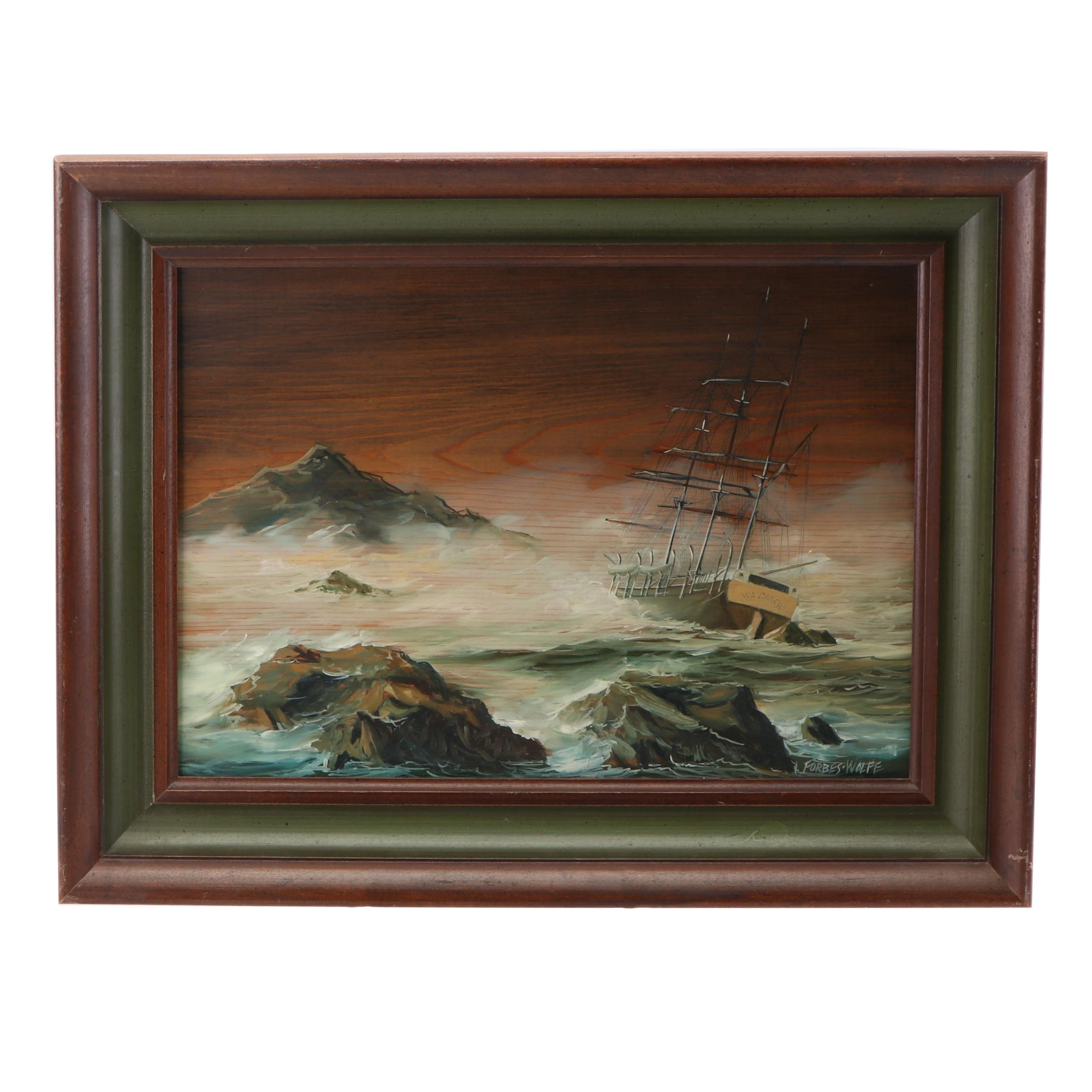 Lawrence Forbes Wolf Seascape Oil Painting