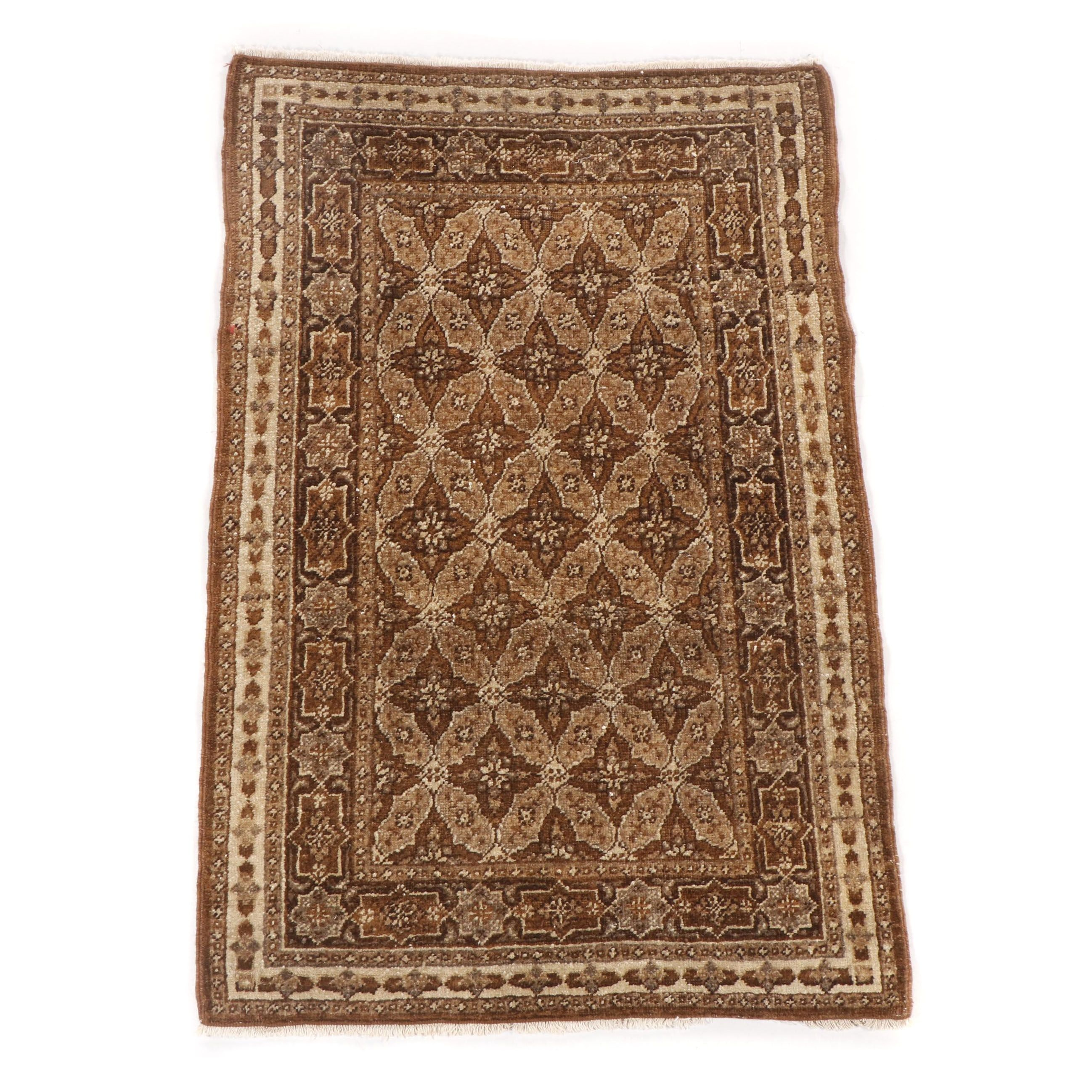 Hand-Knotted Persian Tabriz Wool Accent Rug
