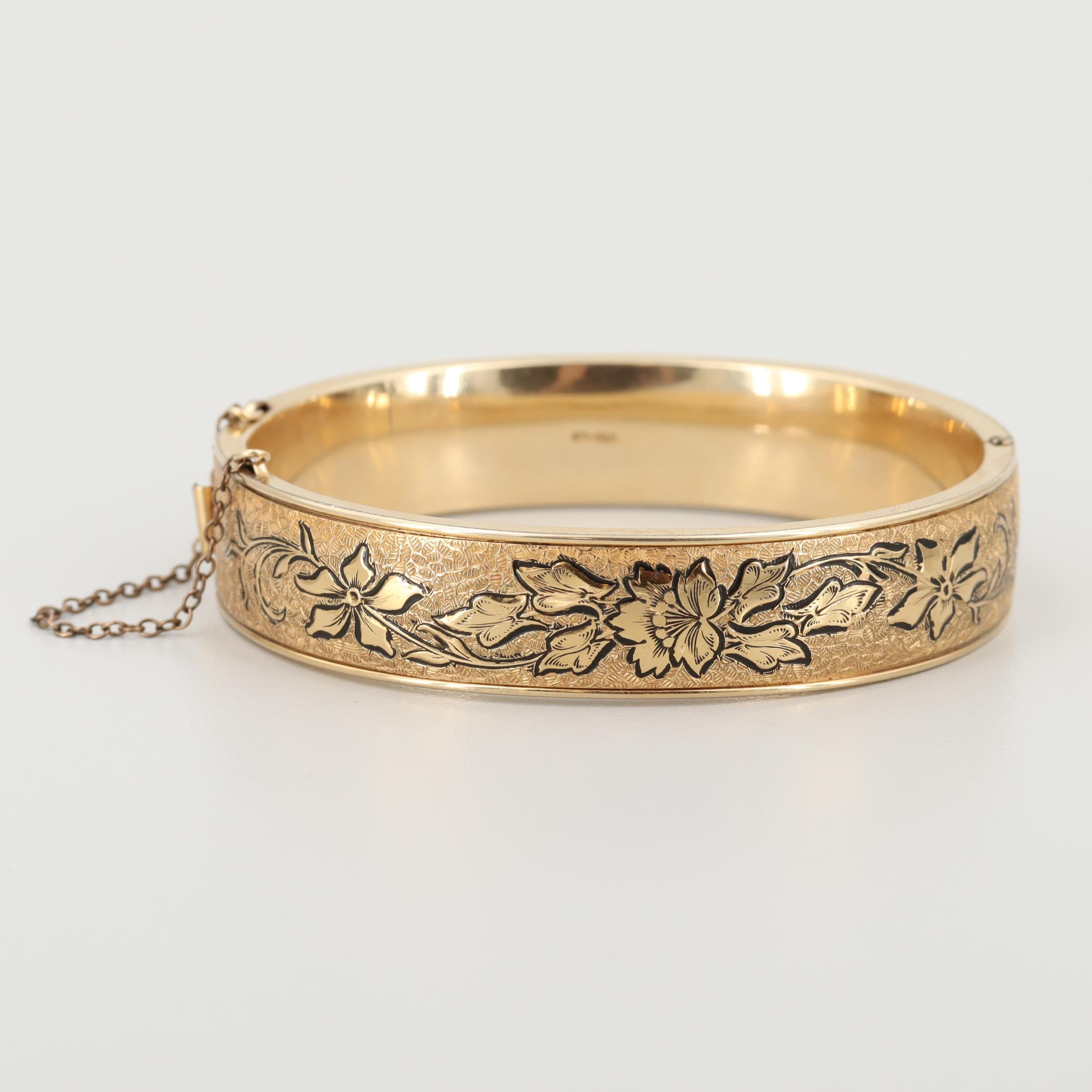 Vintage Gold Filled Hinged Bangle