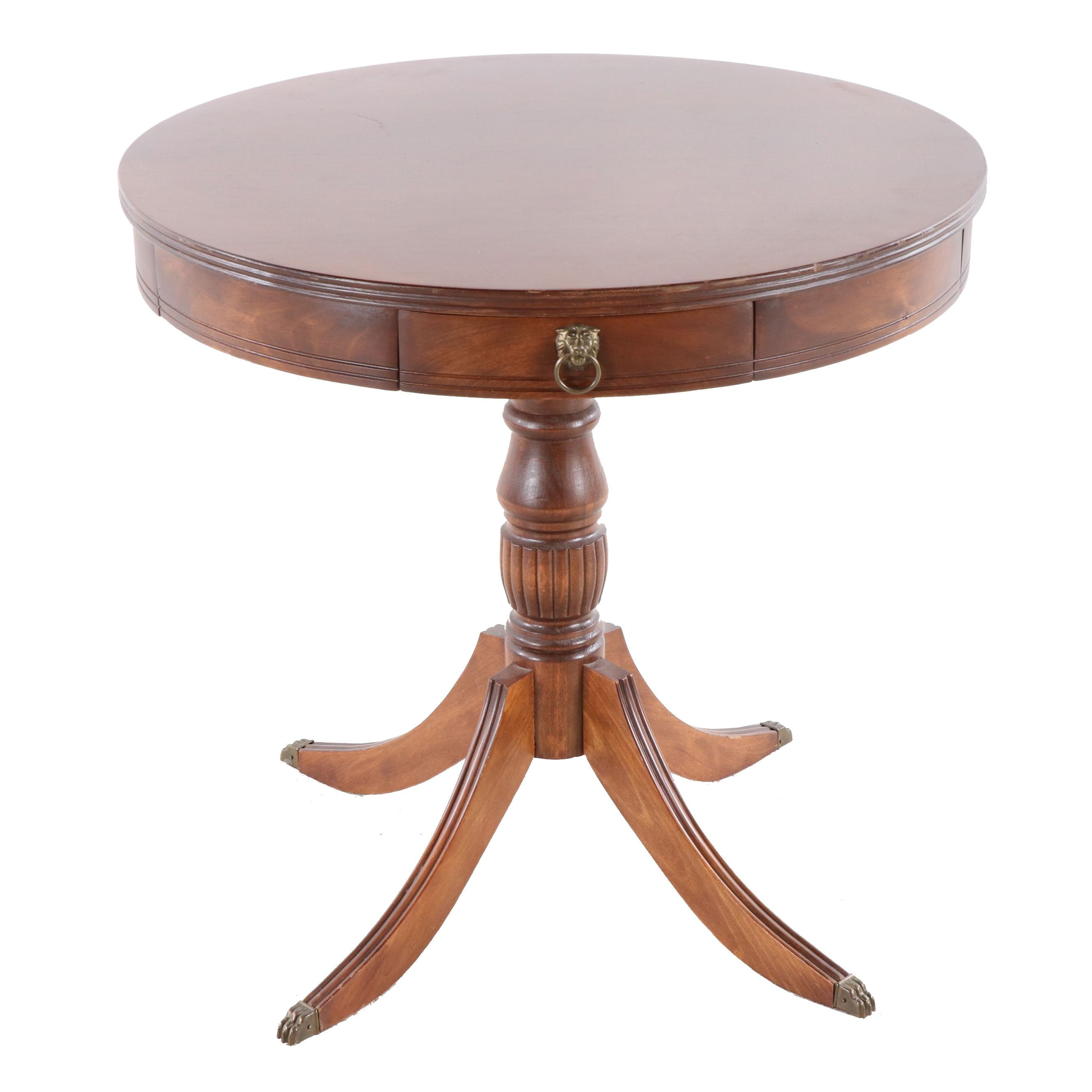 Federal Style Mahogany Drum Table, Mid-20th Century