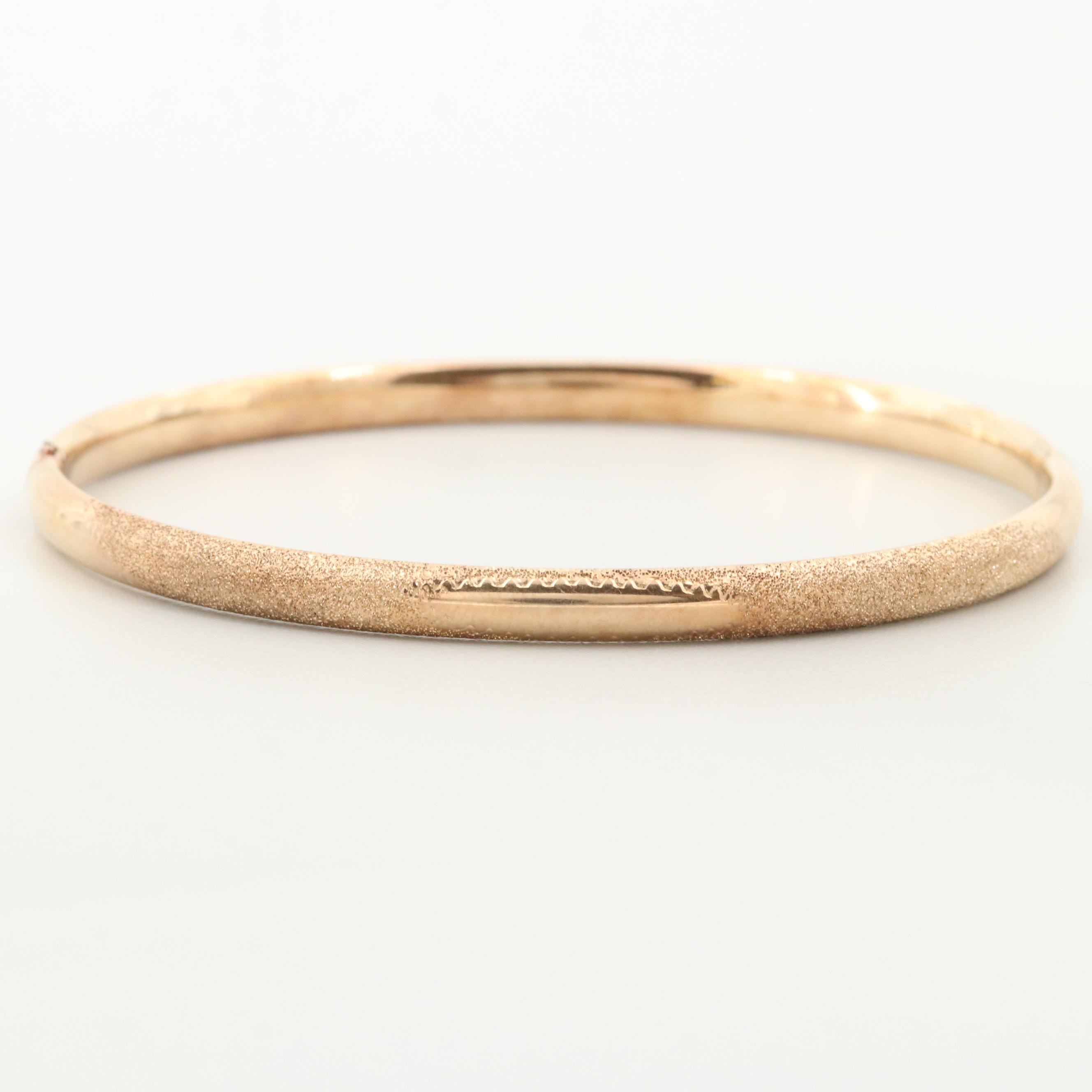 10K Yellow Gold Textured Bangle Bracelet
