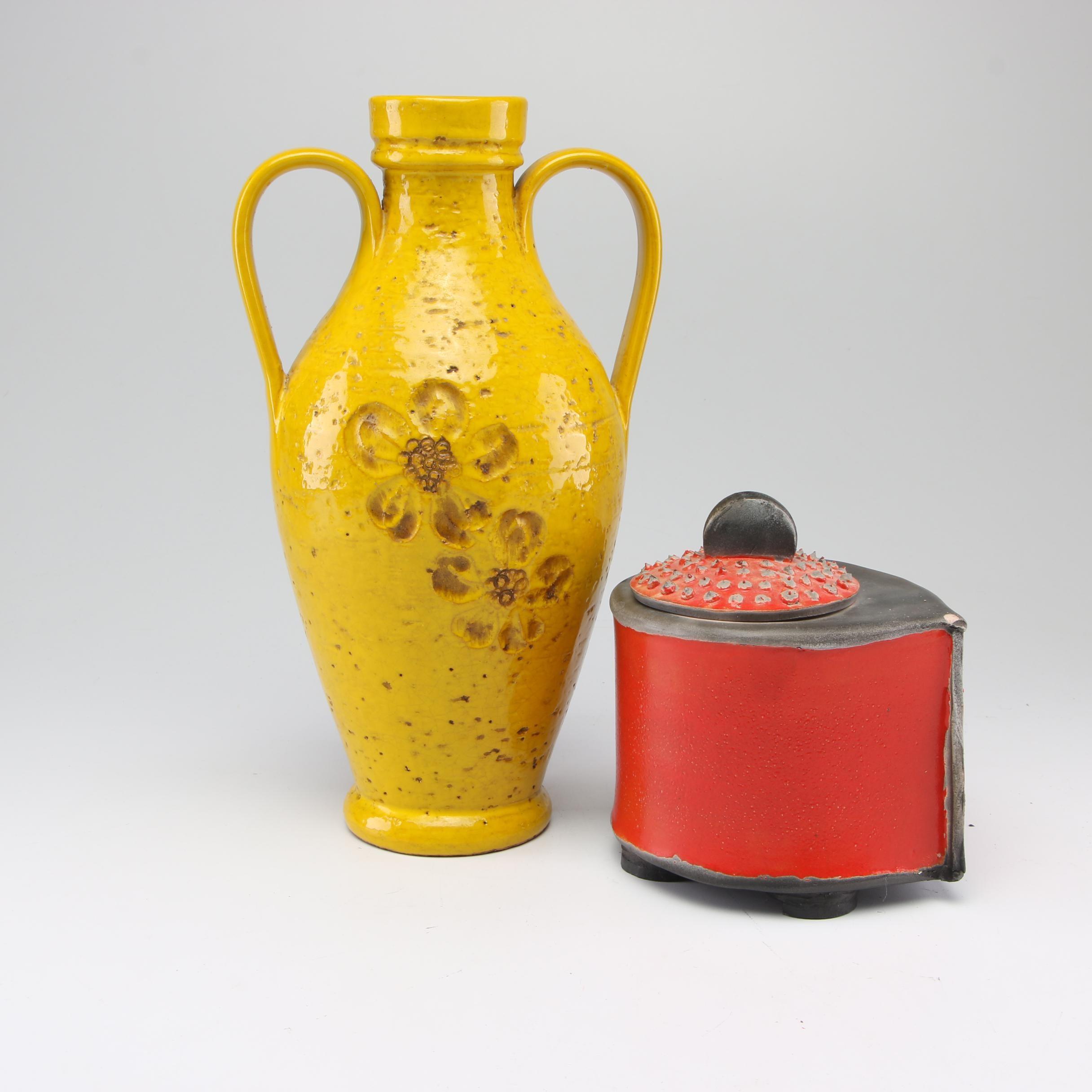 Italian Rosenthal Netter Vase with Handbuilt Stoneware Lidded Box