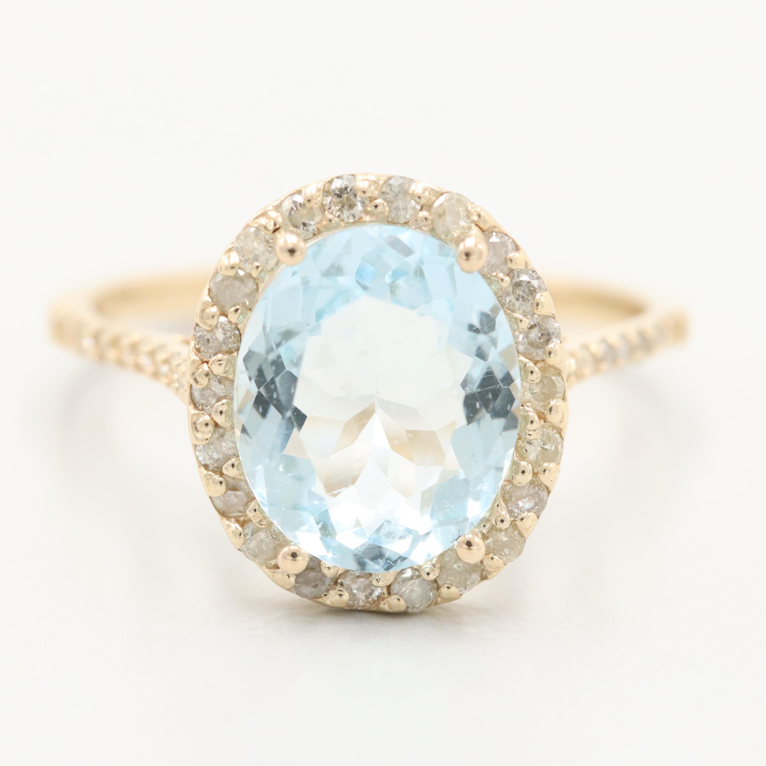 14K Yellow Gold 1.99 CT Aquamarine and Diamond Ring