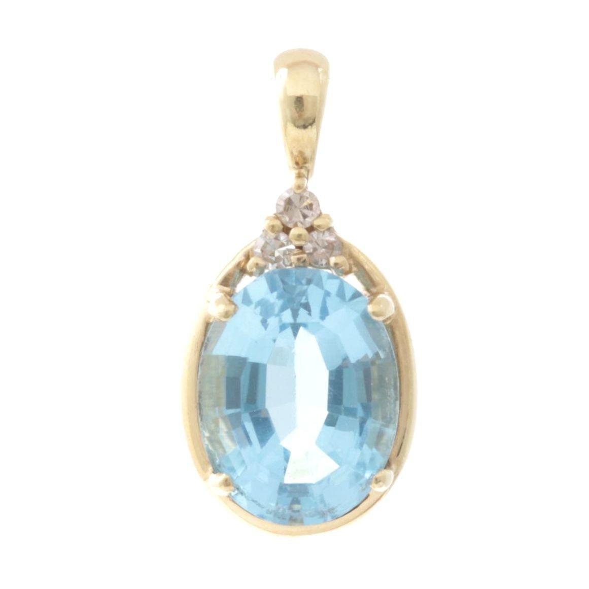 14K Yellow Gold Blue Topaz and Diamond Pendant