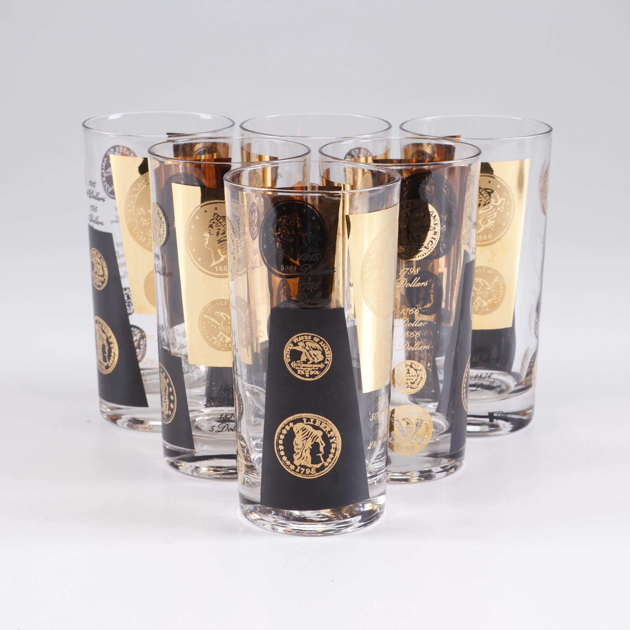 """Libbey """"Gold Coin"""" and """"Old Coin"""" Drinking Glasses, Mid-Century"""