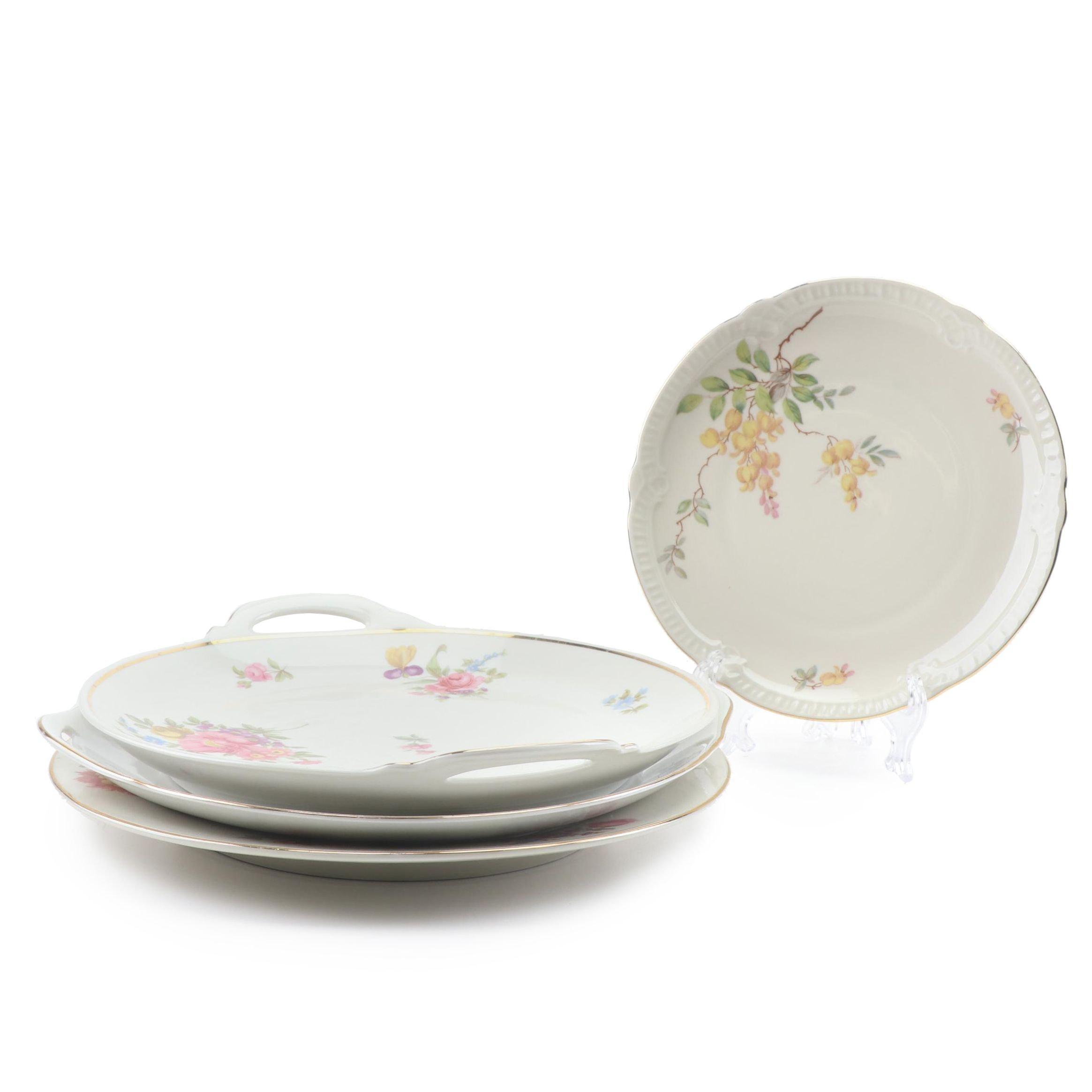 German Floral Porcelain and Ceramic Dinnerware featuring Johann Haviland