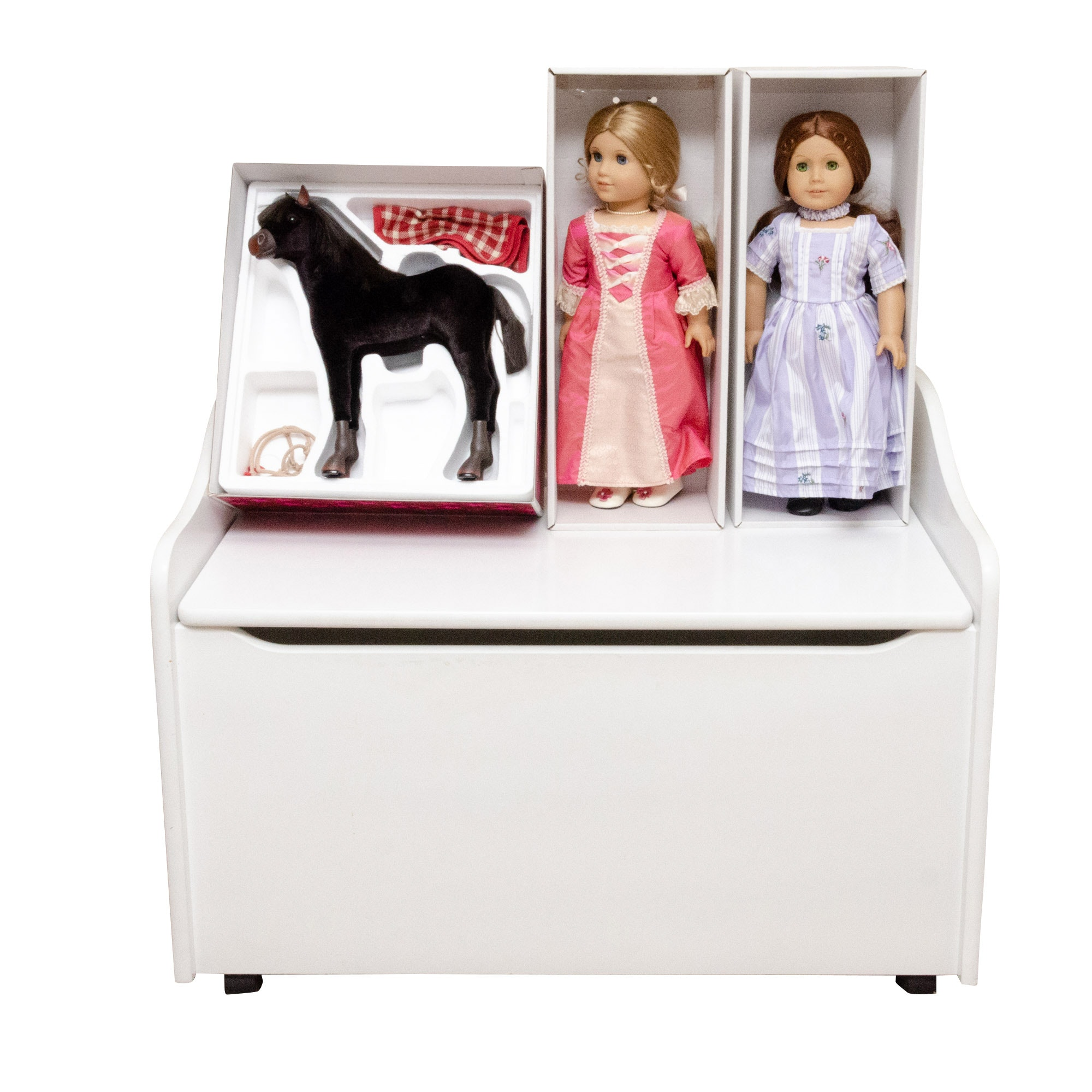 American Girl Dolls, Foal and Kidcraft Wooden Storage Bench