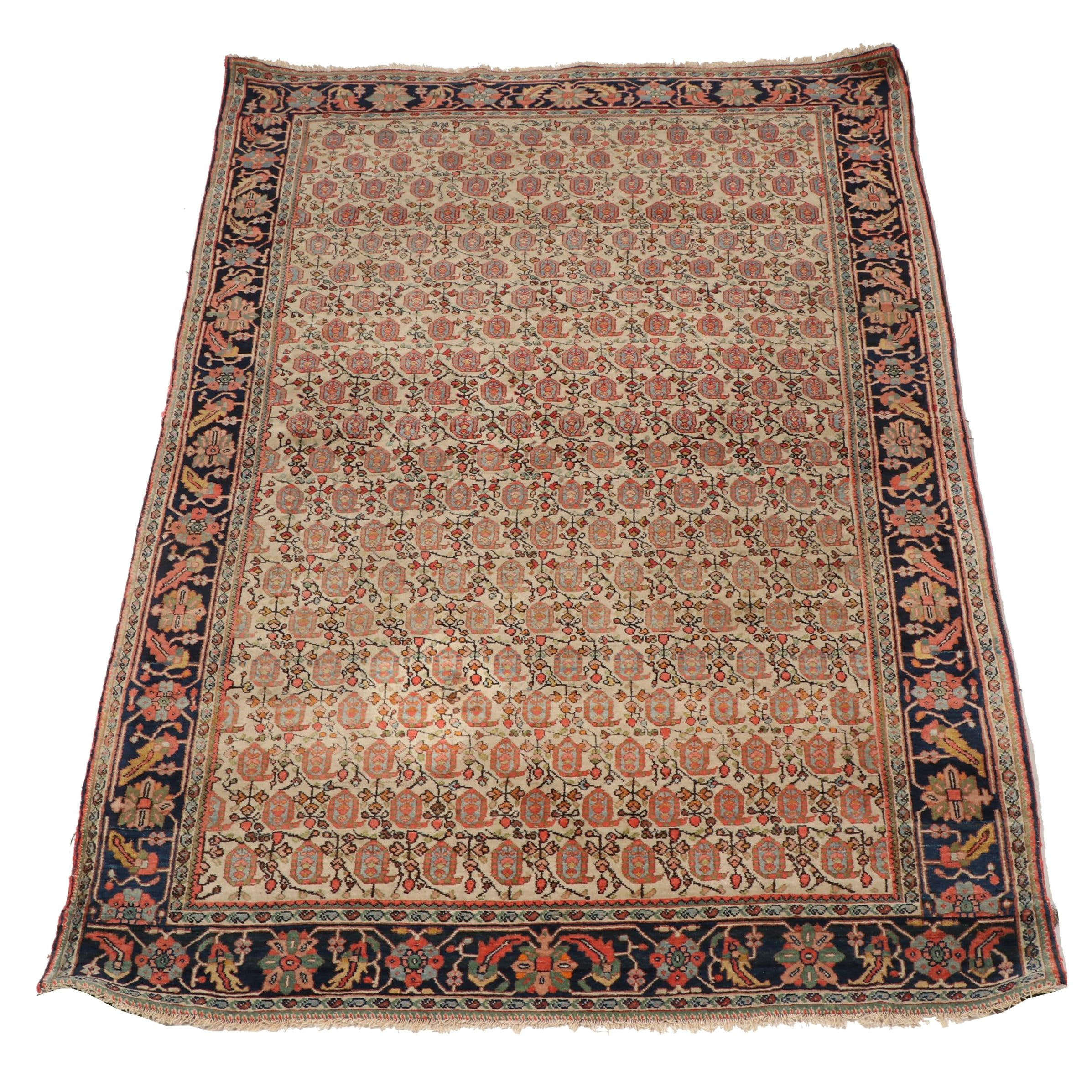 Hand-Knotted Persian Fereghan Mir-Boteh Wool Rug