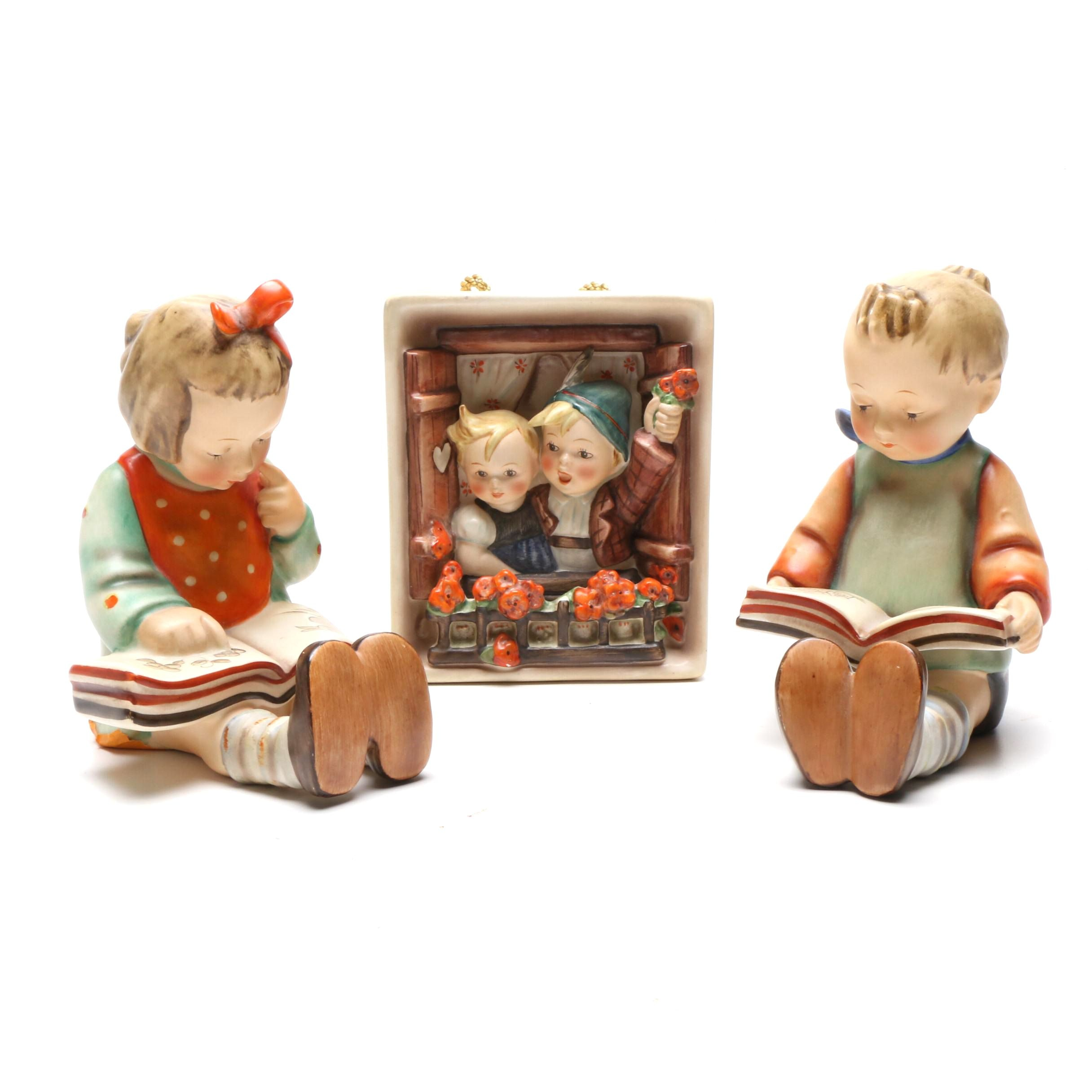 """M. I. Hummel Porcelain """"Bookworm"""" Bookends and """"Vacation Time"""" Wall Hanging"""