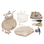 Embroidered, Crochet and Petit Point Clutches and Pouches with Hair Combs