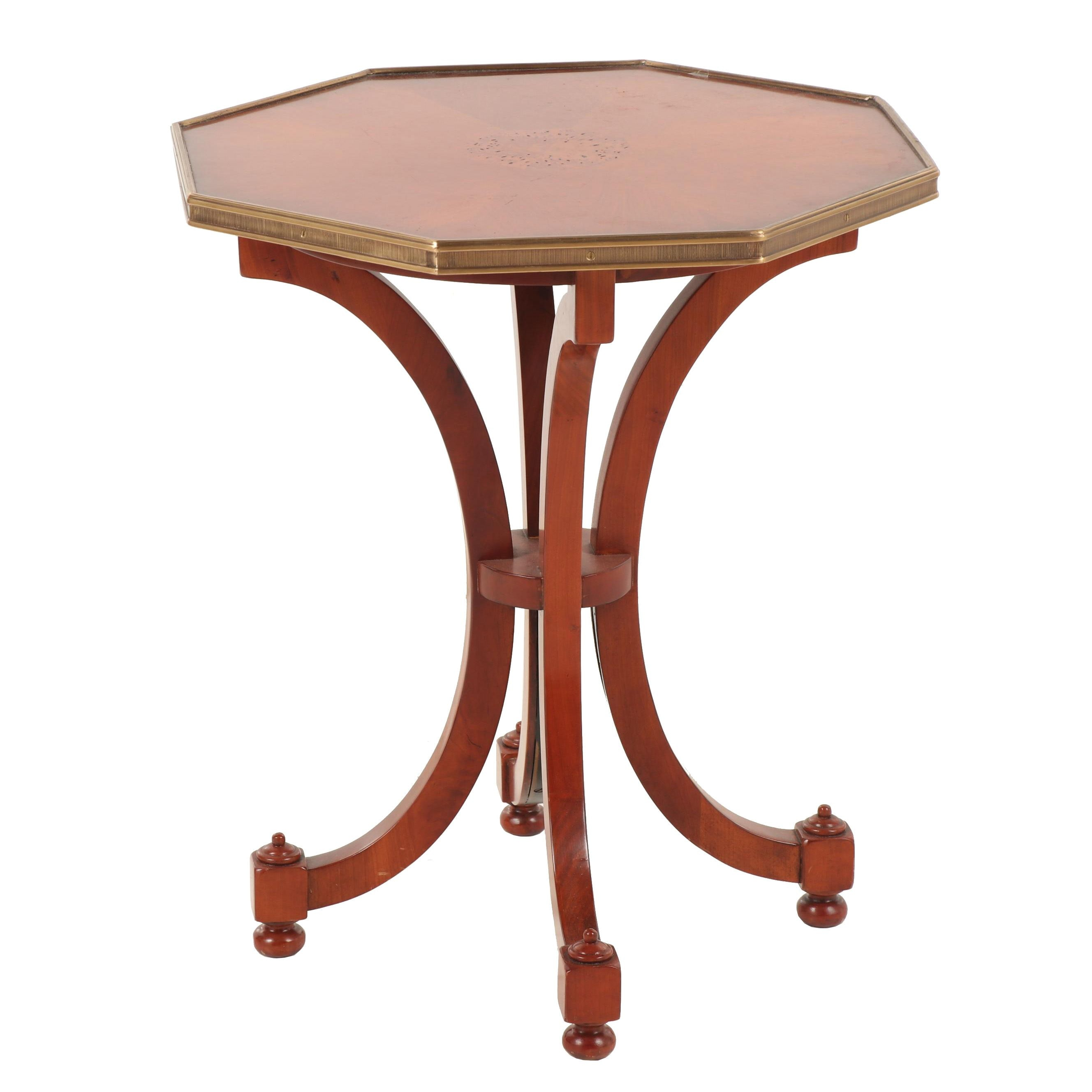 Contemporary European Cherry and Burlwood Brass-Mounted Gueridon Table