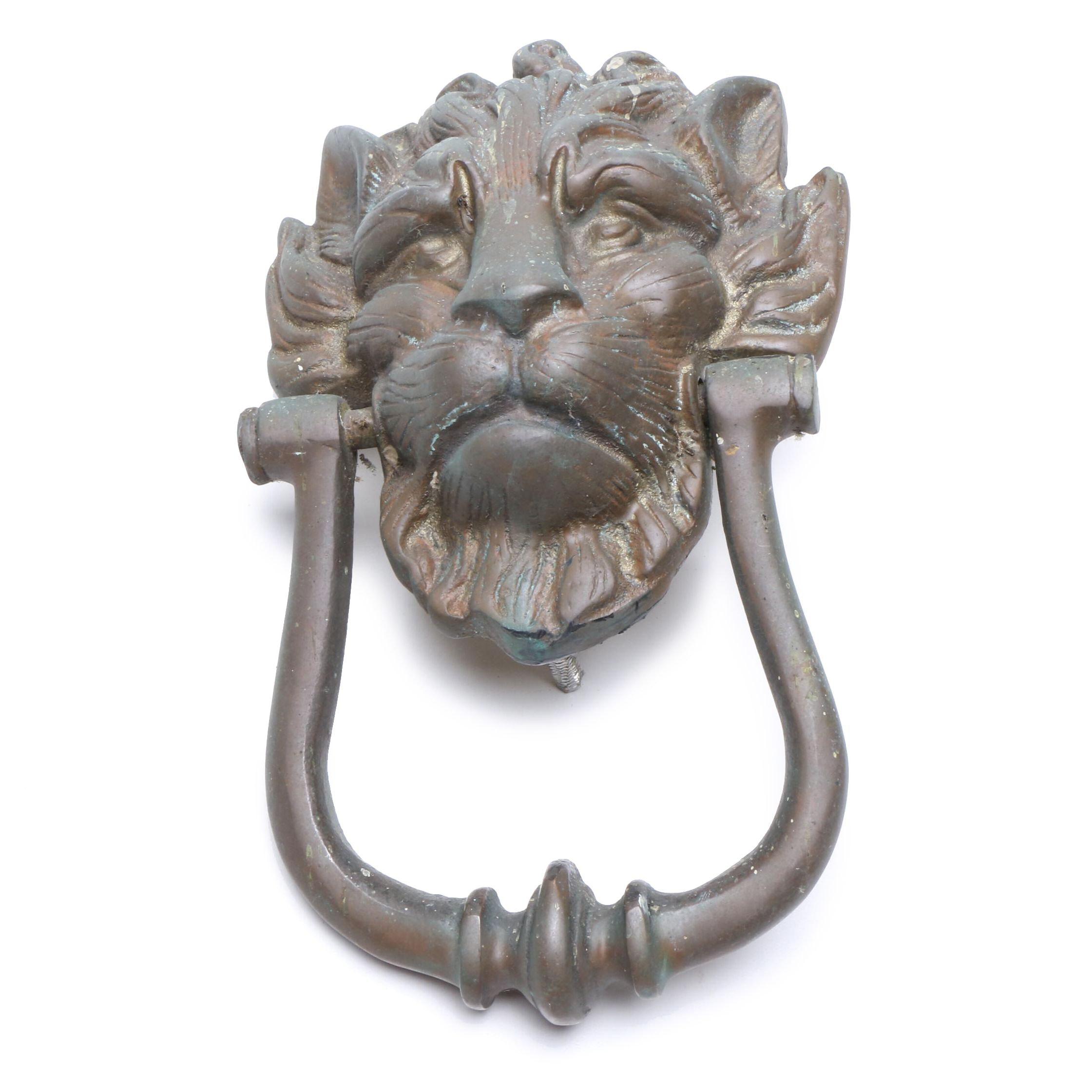 Cast Metal Lion's Head Door Knocker