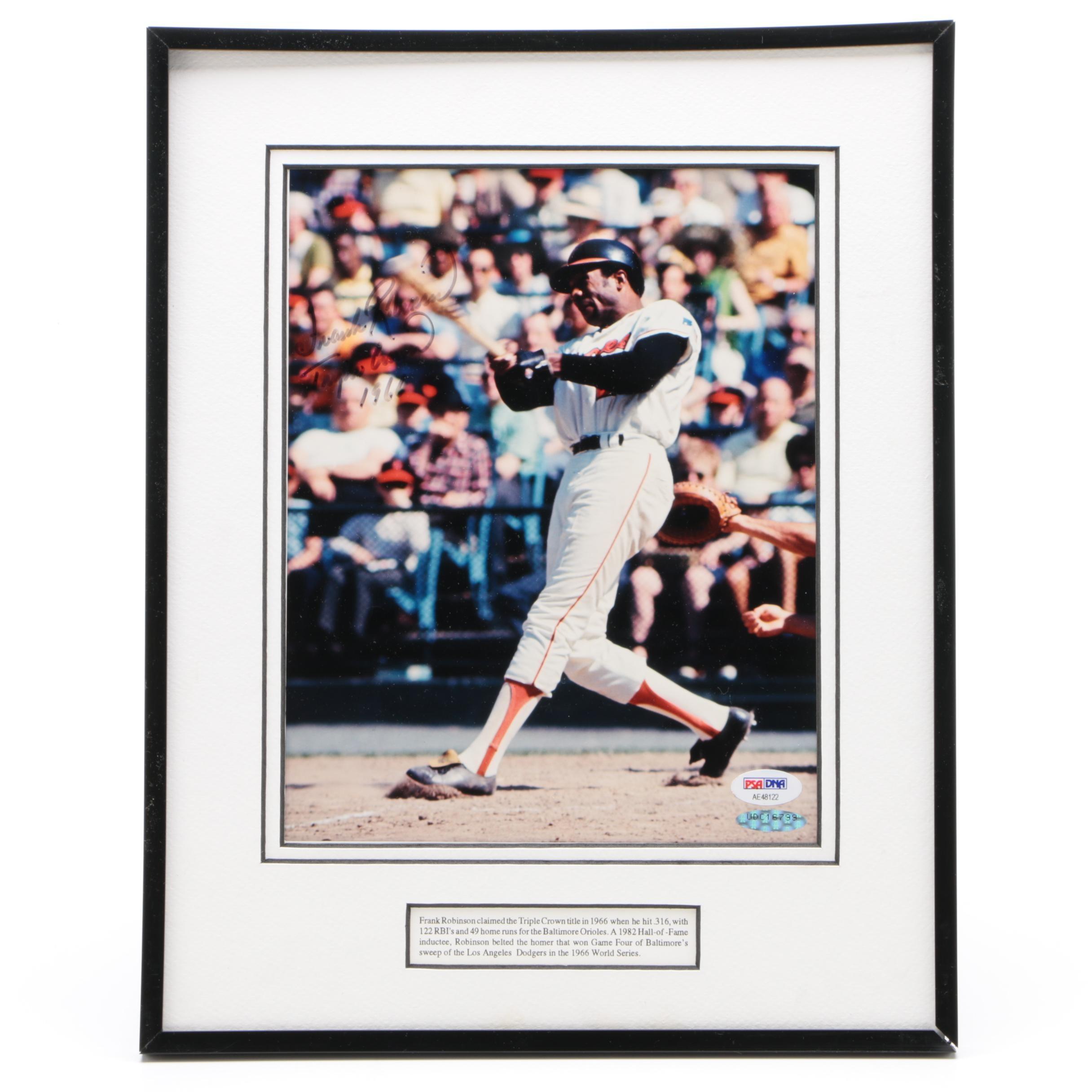 Autographed Frank Robinson Baltimore Orioles Triple Crown 1966 Photo PSA/DNA