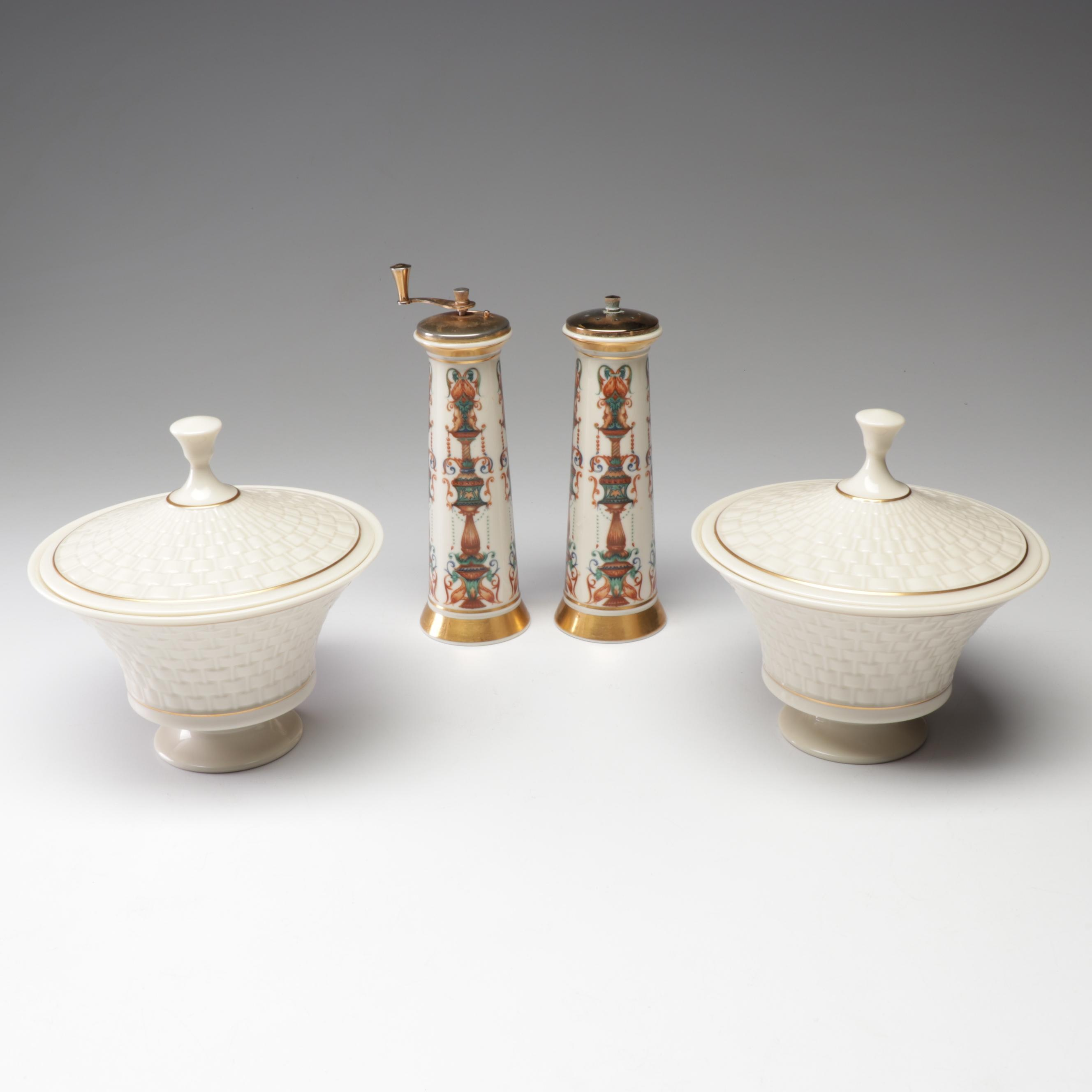 """Lenox """"Lido"""" Salt and Pepper Mills and Porcelain Covered Dishes"""