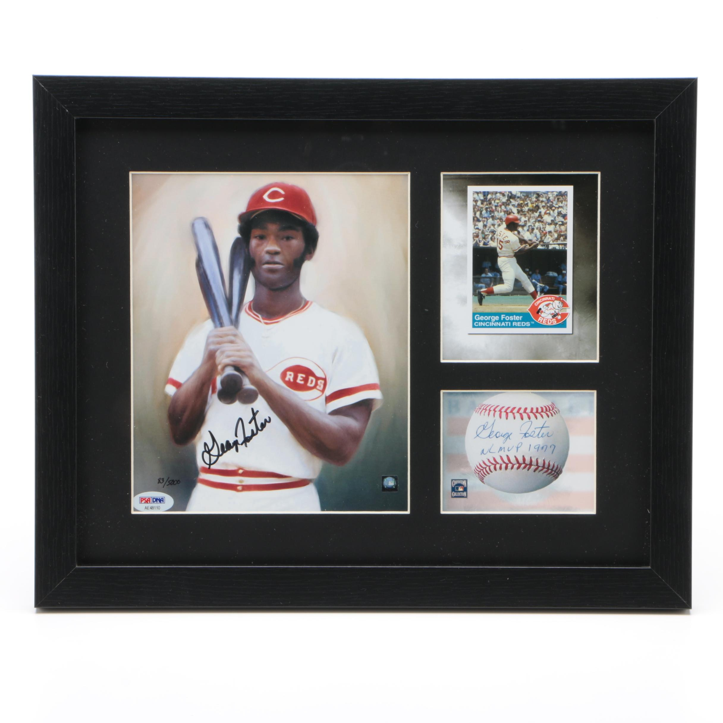 George Foster Framed Autographed Toon Art Lithograph Reds Limited PSA