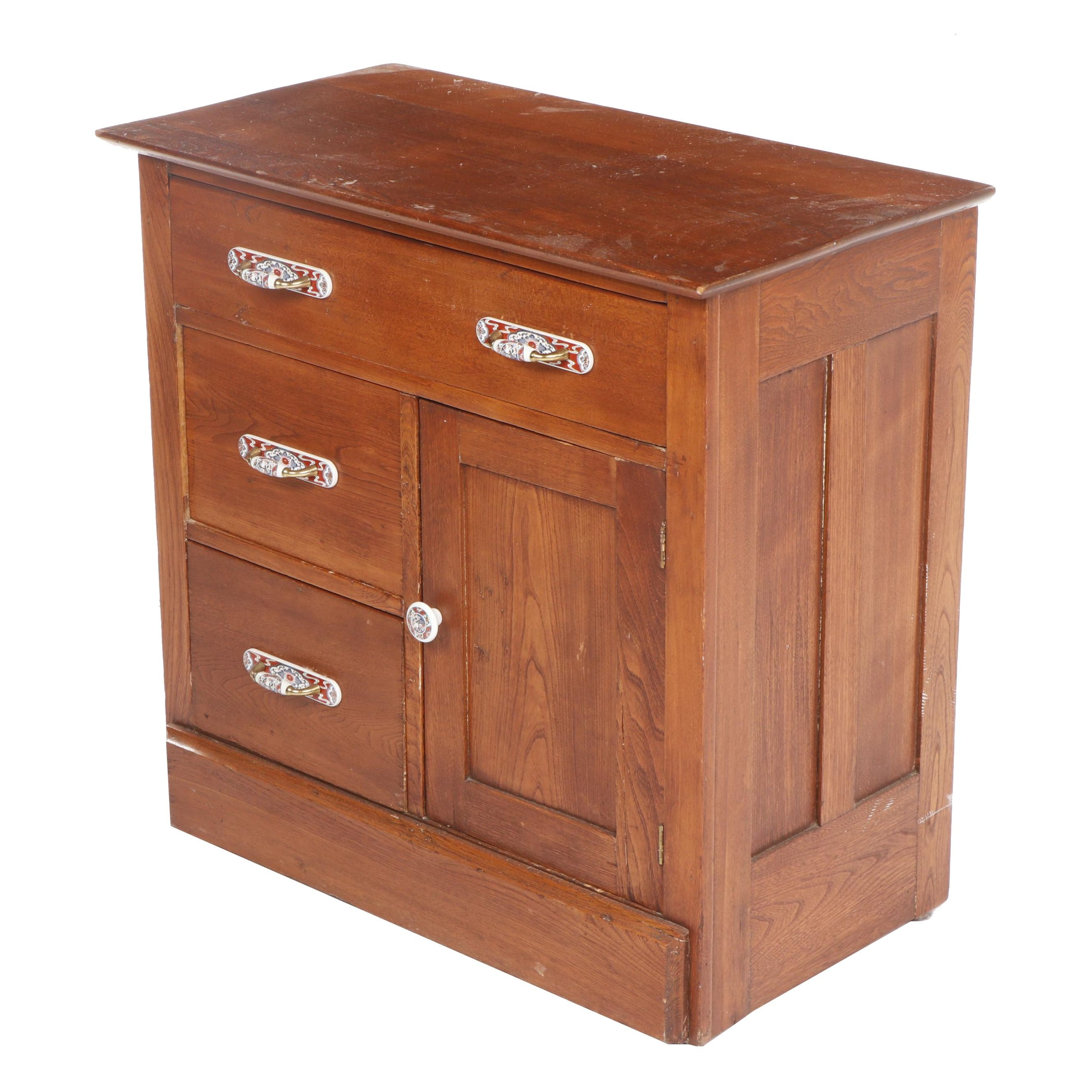 Elm Side Cabinet with Hand-Painted Ceramic Handles