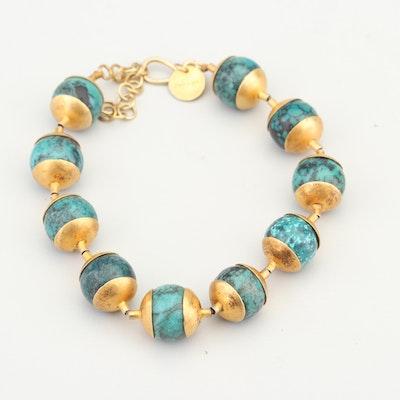 Gold Wash on Sterling Silver Turquoise Bracelet