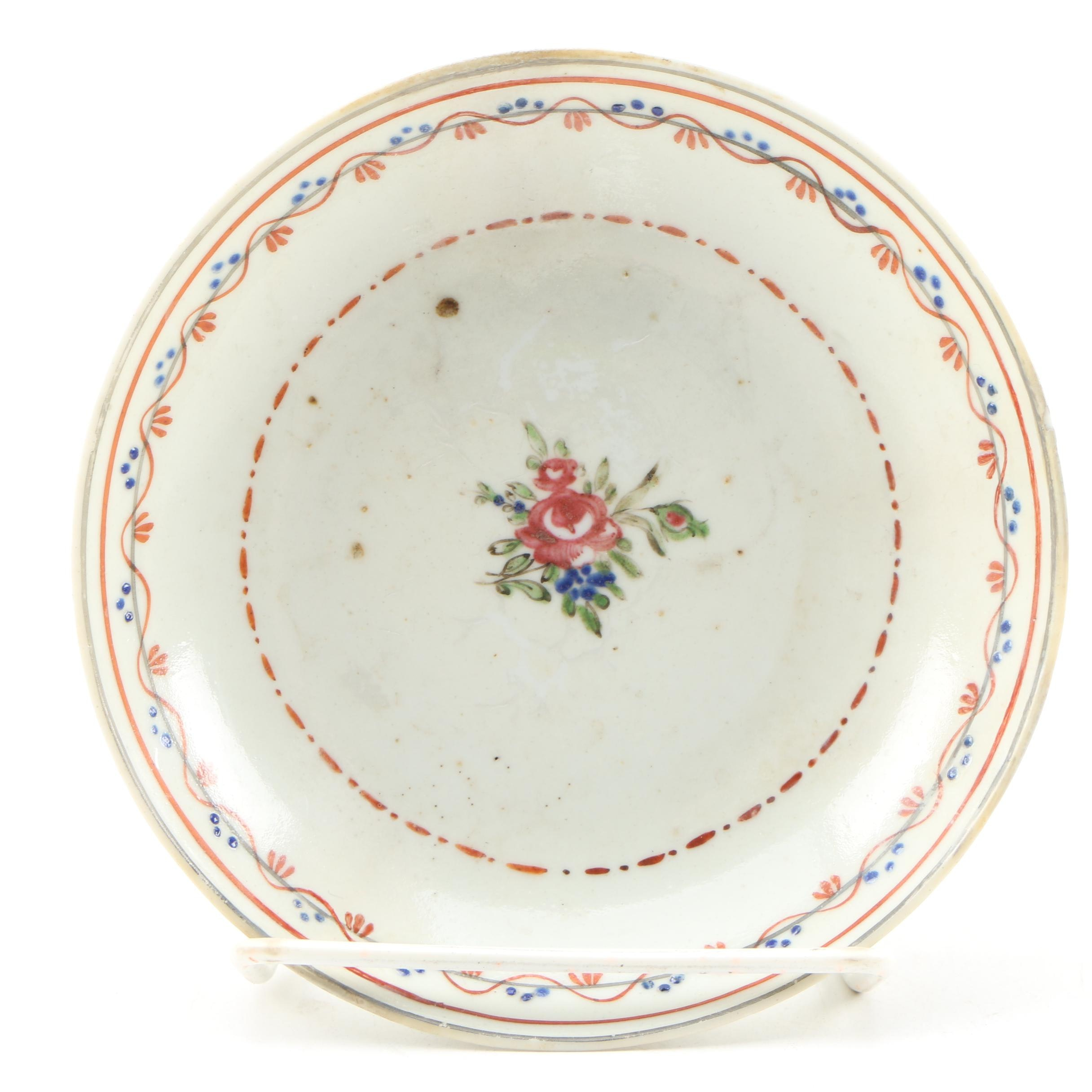 Chinese Export Porcelain Hand-Painted Saucer, 19th Century