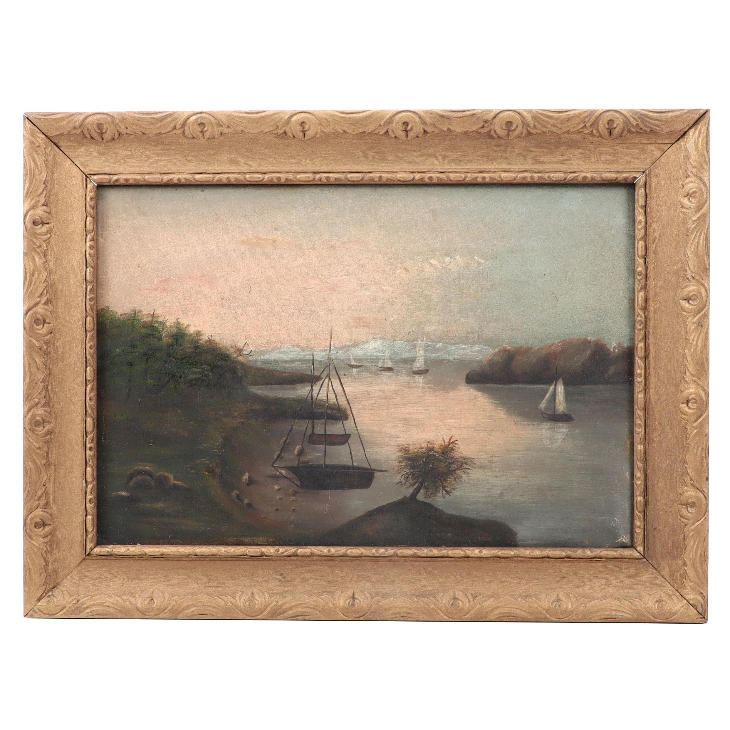 Naive Style Oil Painting of Harbor Scene