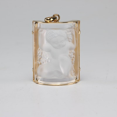 """Lalique """"Enfants"""" Frosted Crystal Pendant with Gold Plate Frame"""