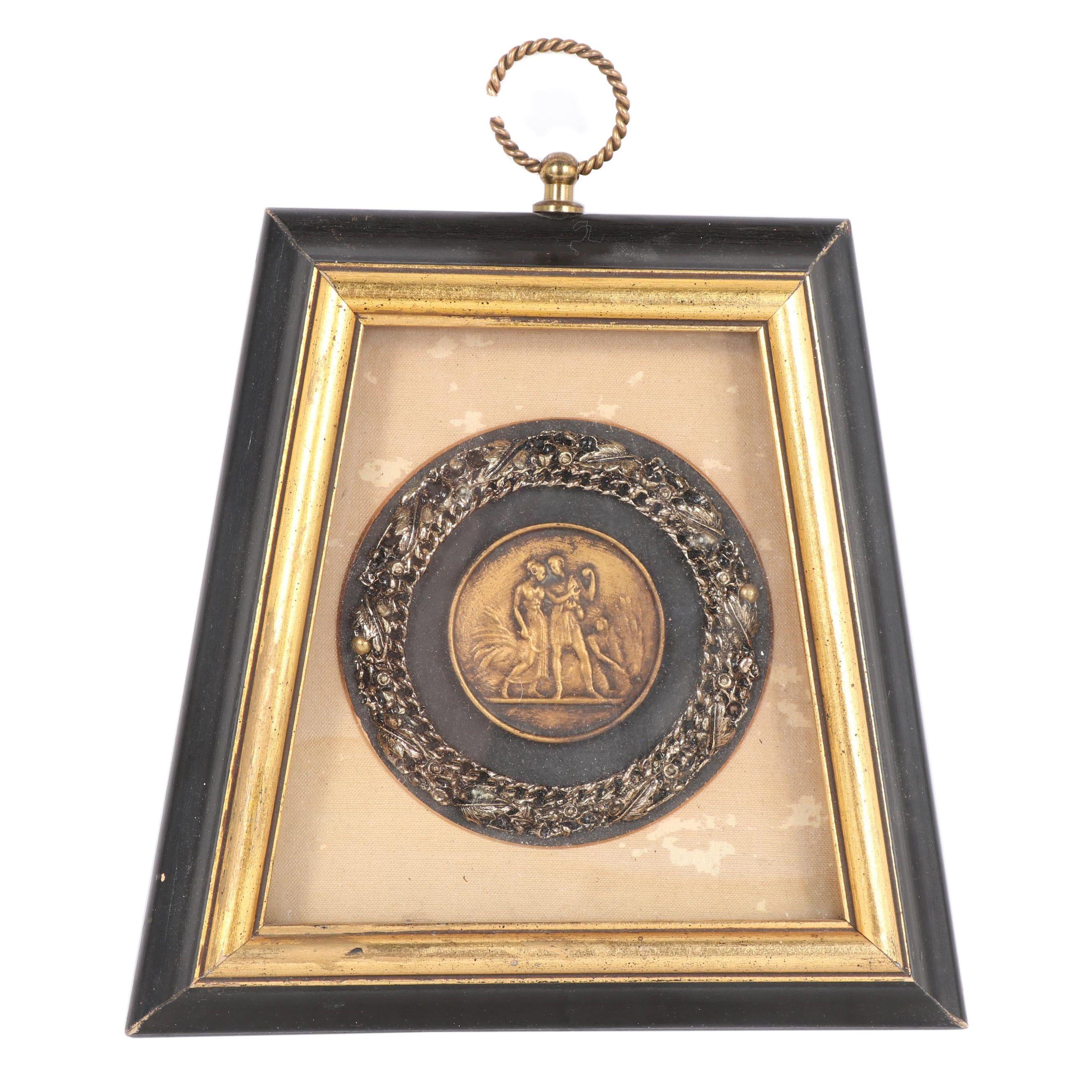 Framed Brass Medallion, Vintage