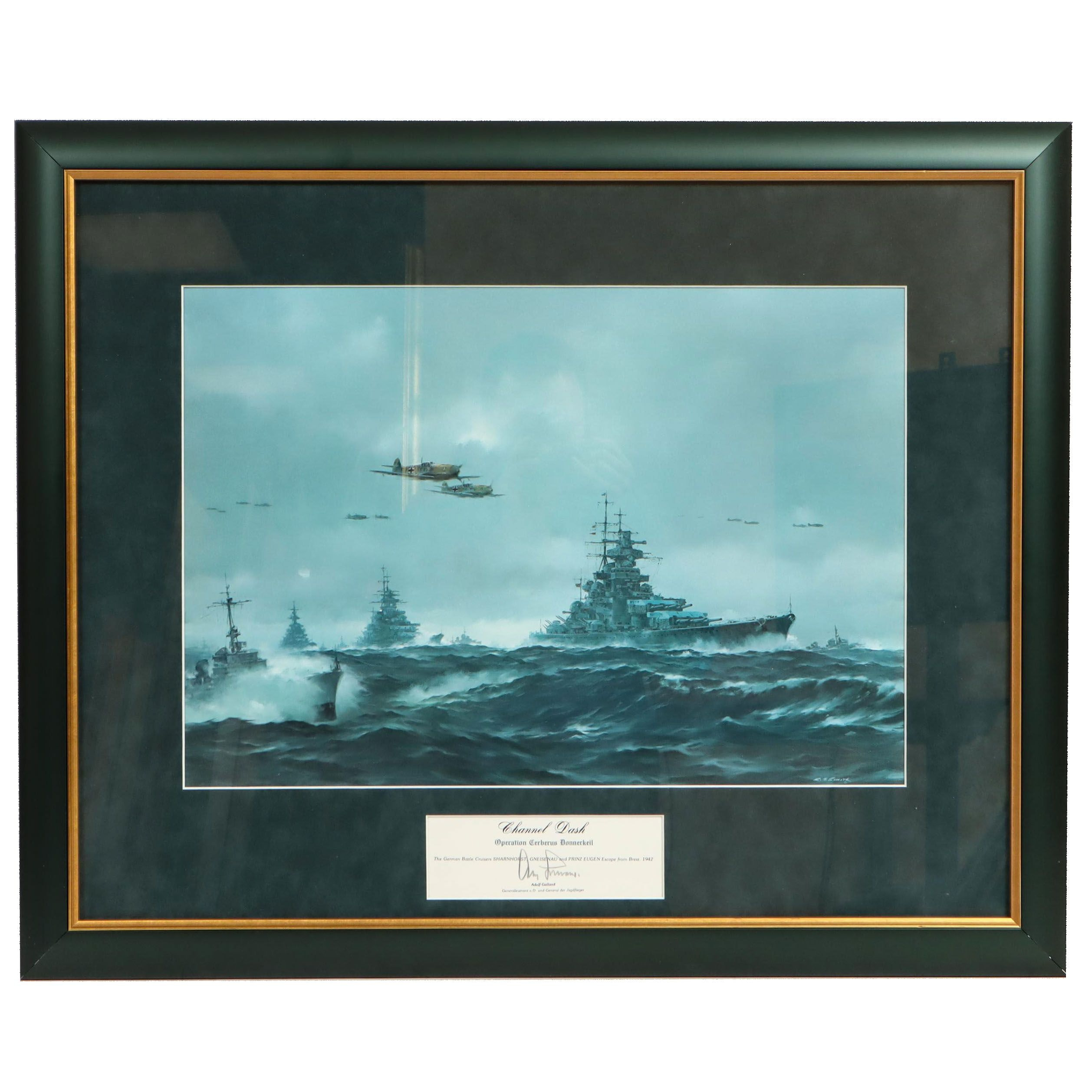 """R.G. Smith Offset Lithograph """"Channel Dash"""" Signed by Adolf Galland"""