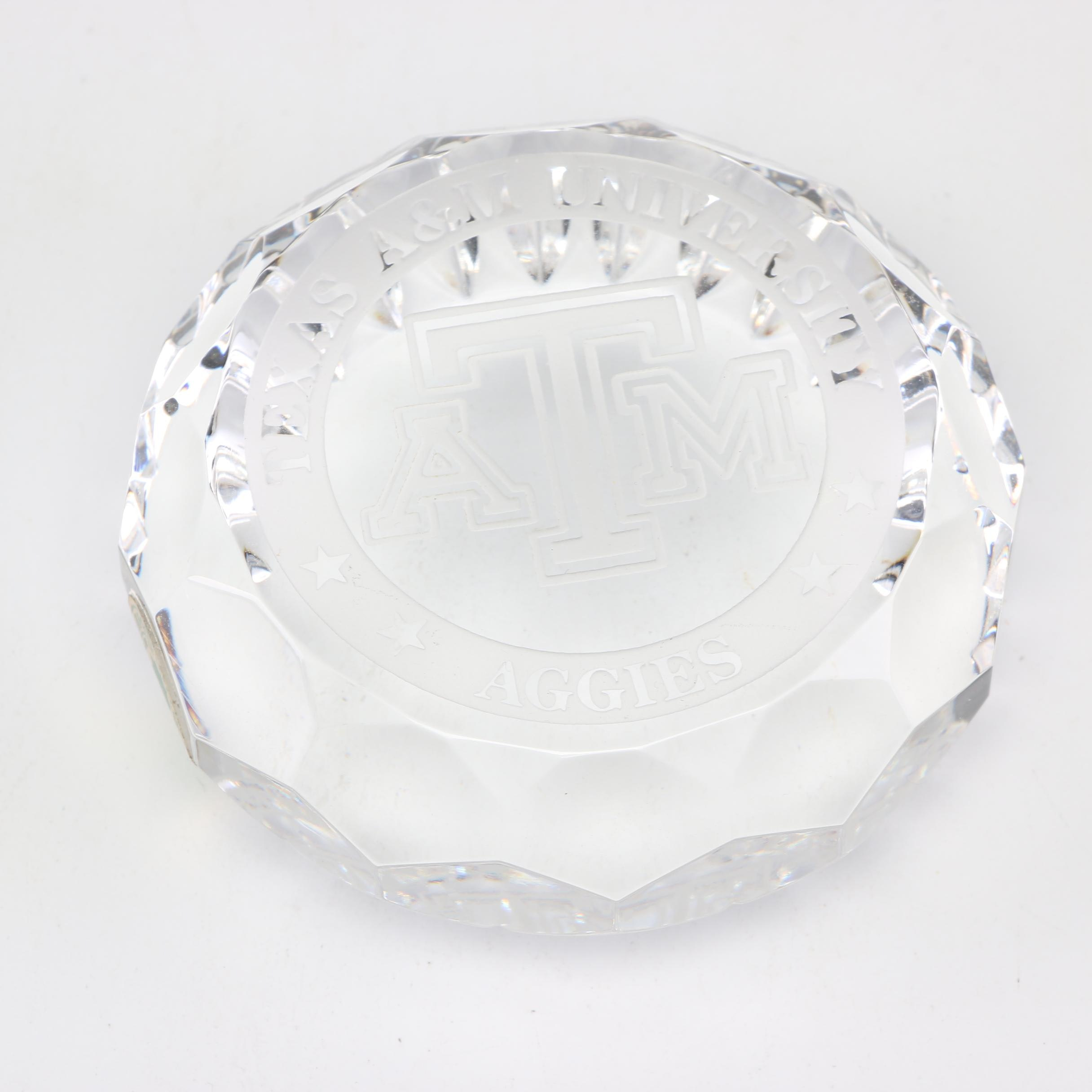Waterford Crystal Texas A&M University Paperweight, Late 20th Century