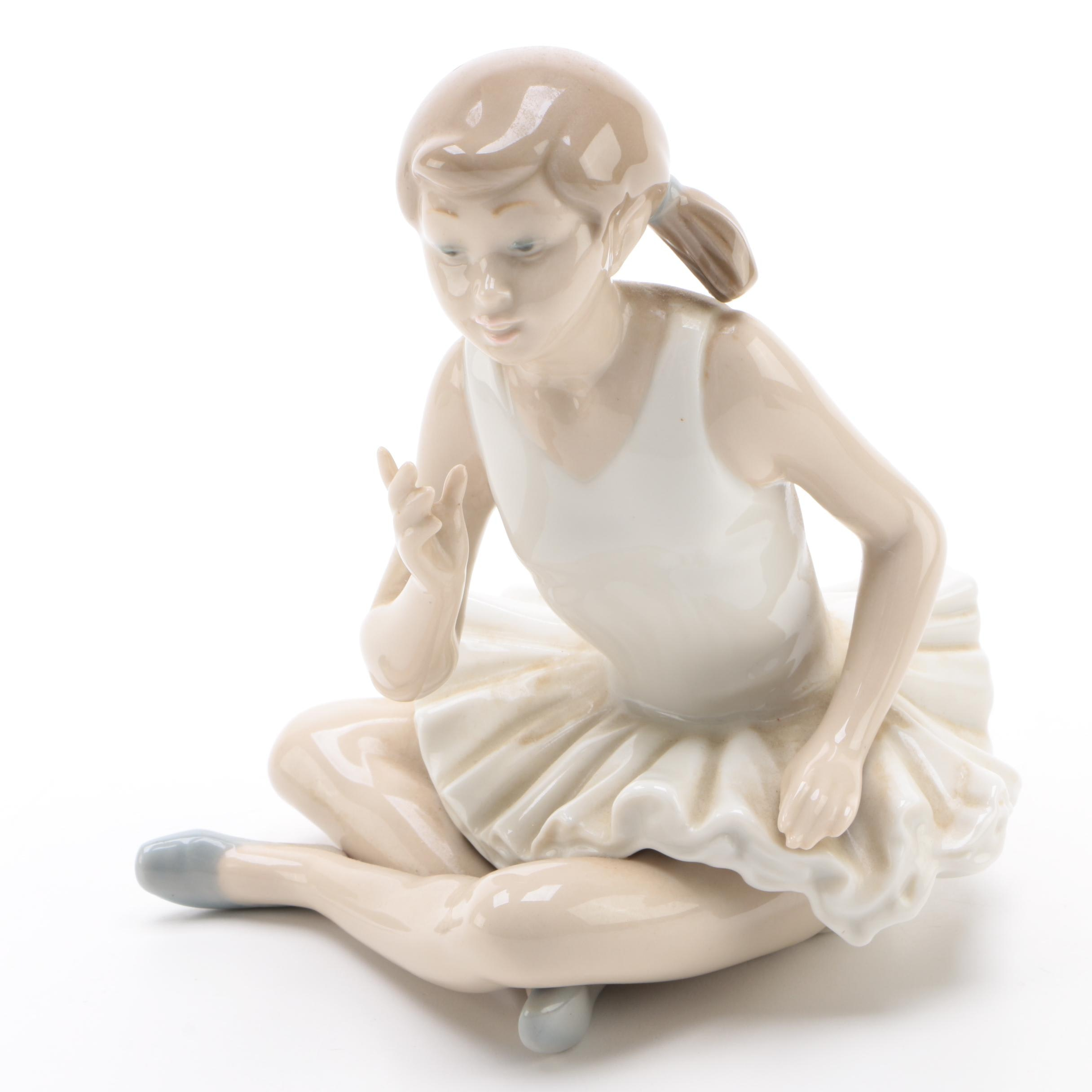 "Nao by Lladró ""Sitting Ballerina"" Porcelain Figurine, Late 20th Century"