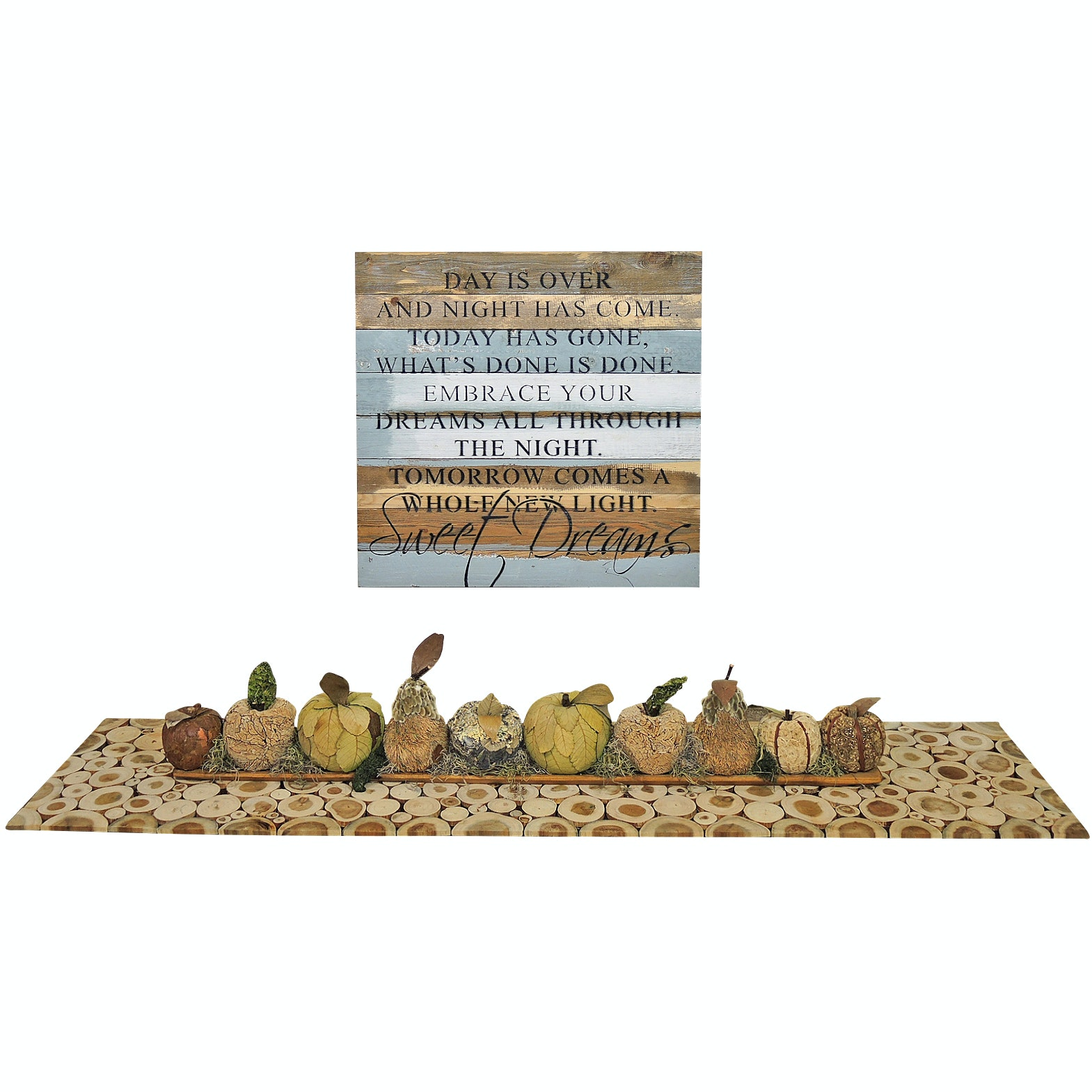 Sweet Bird Co. Inspirational Wall Sign, Natural Table Runner and Centerpiece