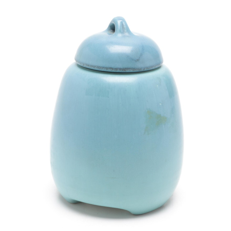 Rookwood Pottery Lidded Jar in Turquoise Matte Glaze, 1920
