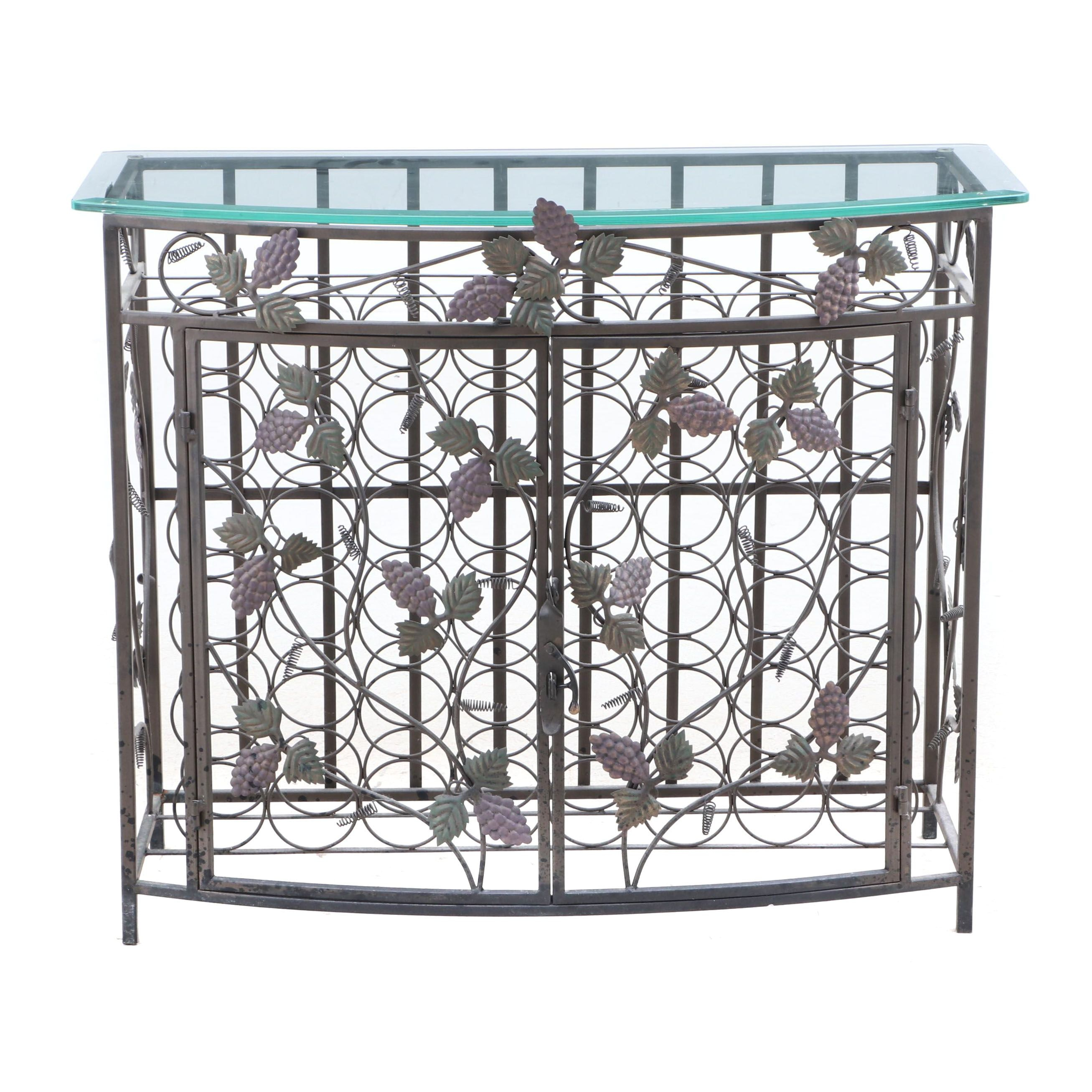 Wrought Iron Wine Console Cabinet, Contemporary