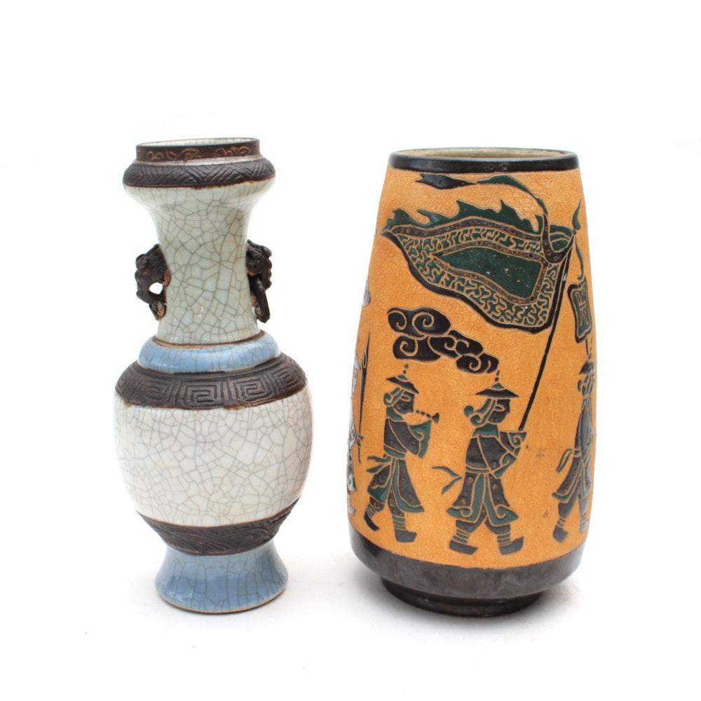 East Asian Earthenware Vases